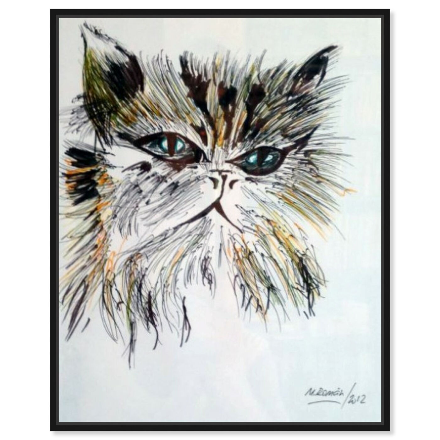Front view of Gato Misifu featuring animals and cats and kitties art.