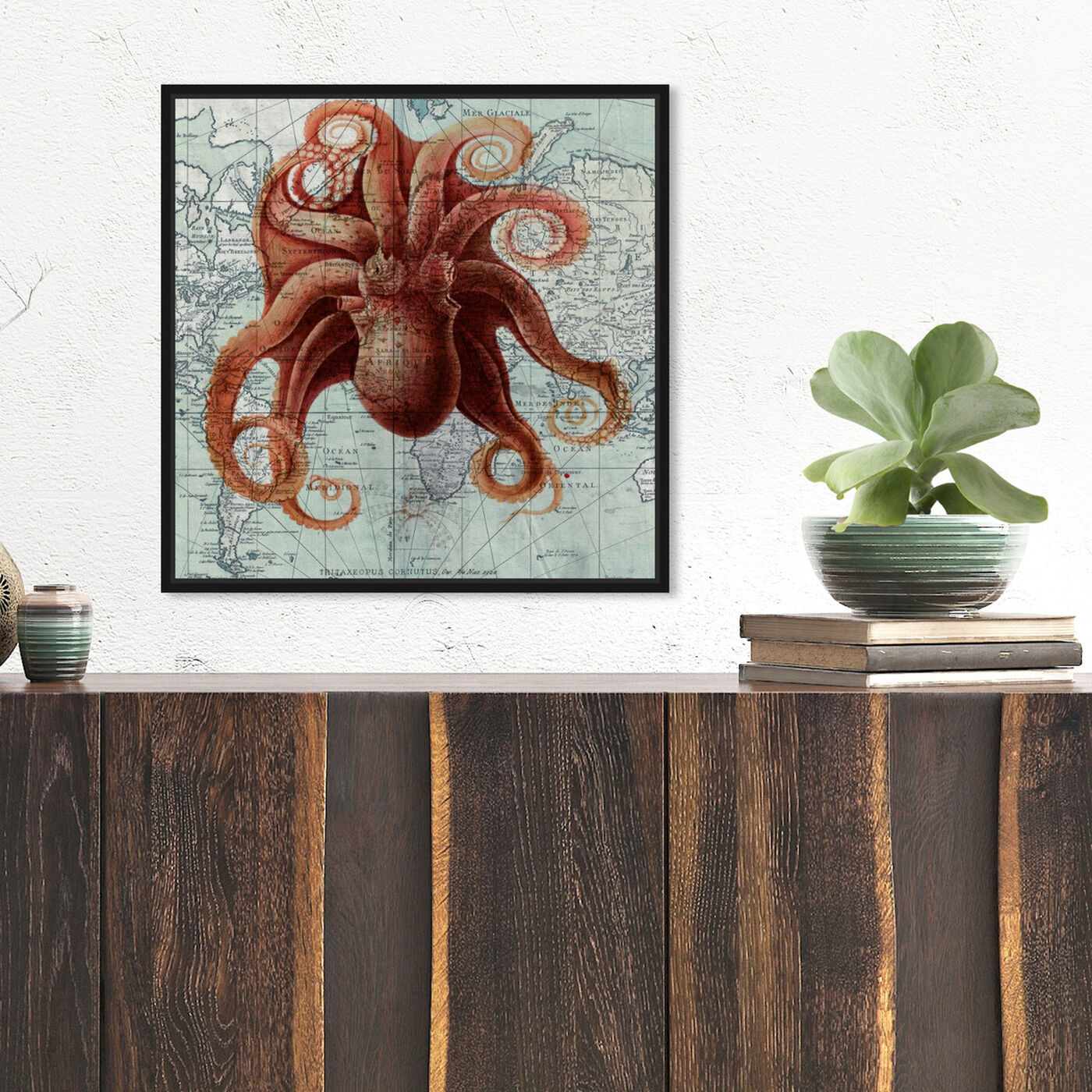 Hanging view of Octopus I featuring nautical and coastal and marine life art.