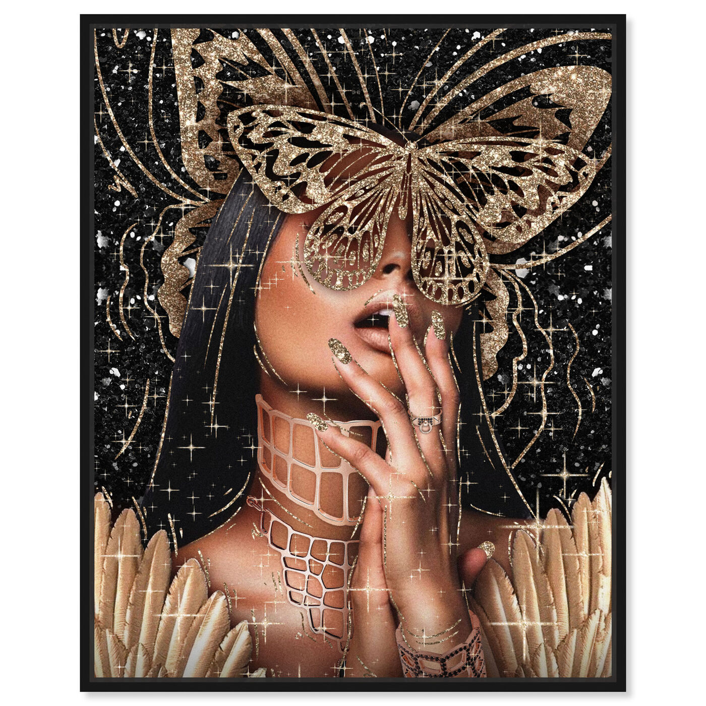 Front view of Golden Angela featuring fashion and glam and portraits art.