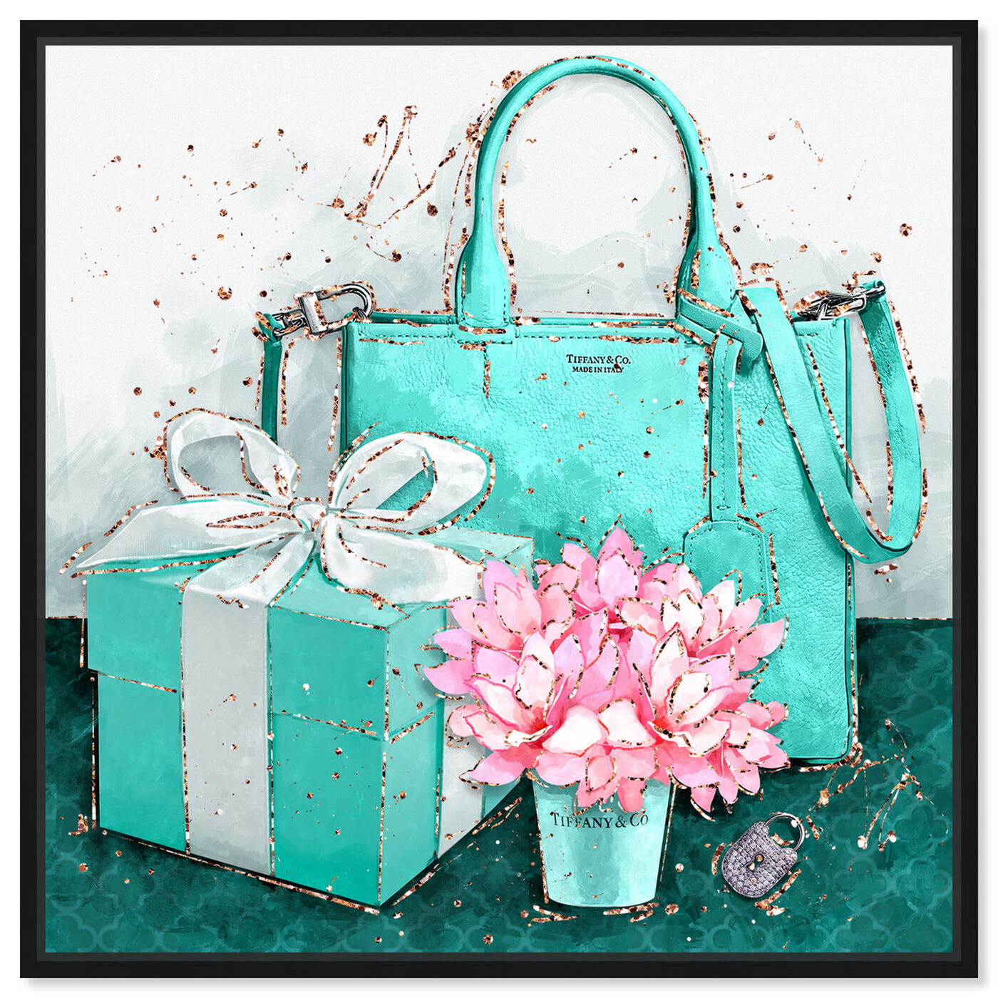 Front view of Teal NYC Treasures featuring fashion and glam and handbags art.