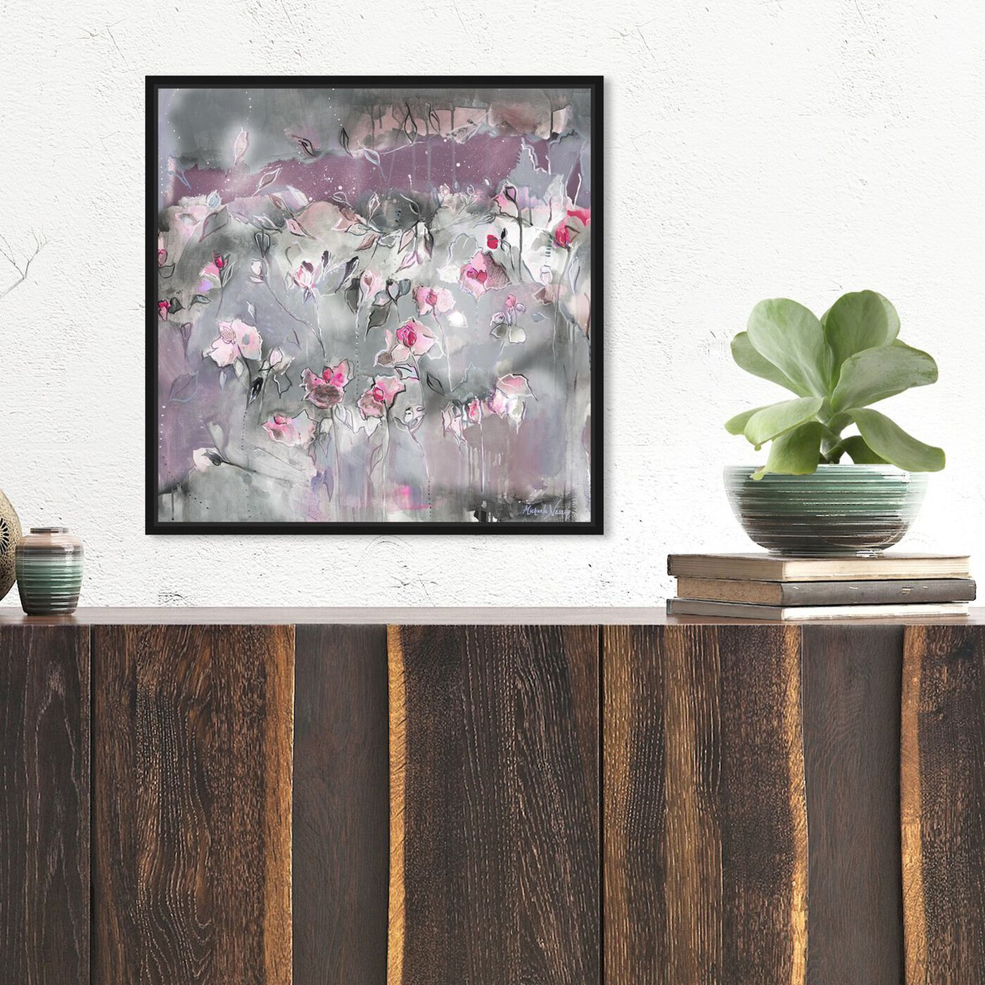 Hanging view of Subtle Radiance Light by Michaela Nessim featuring abstract and flowers art.