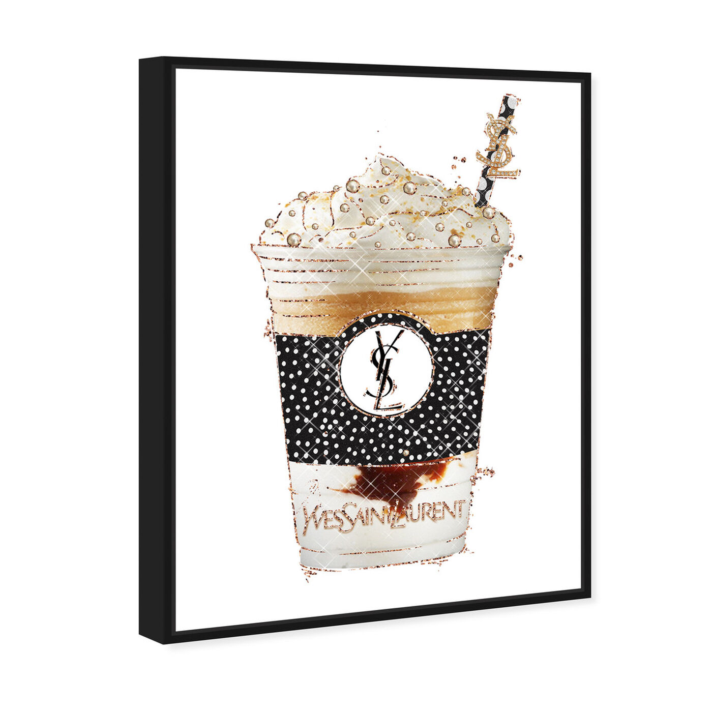Angled view of Pearly Latte Drink featuring fashion and glam and lifestyle art.