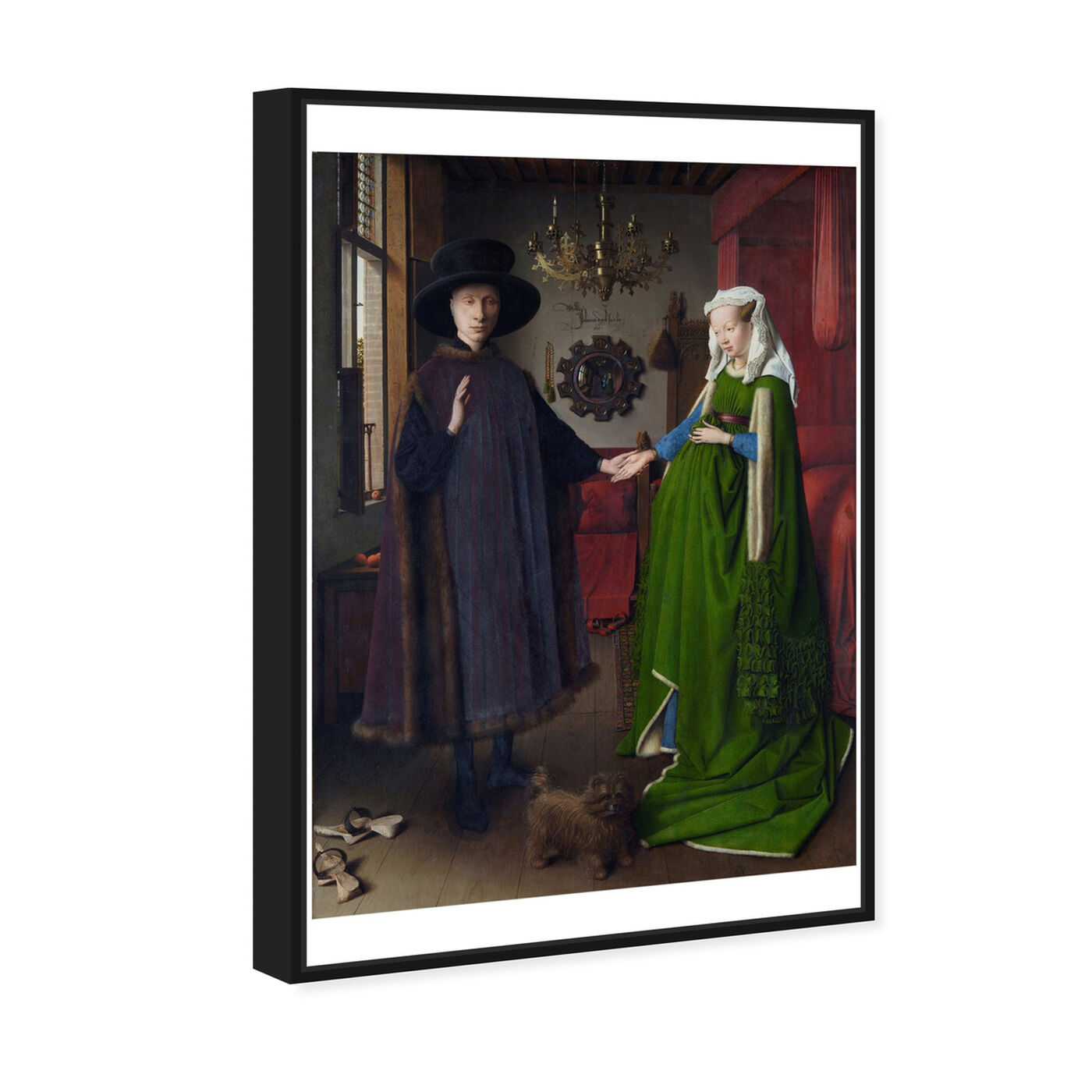 Angled view of Van Eyck - Arnolfini Portrait featuring classic and figurative and renaissance art.
