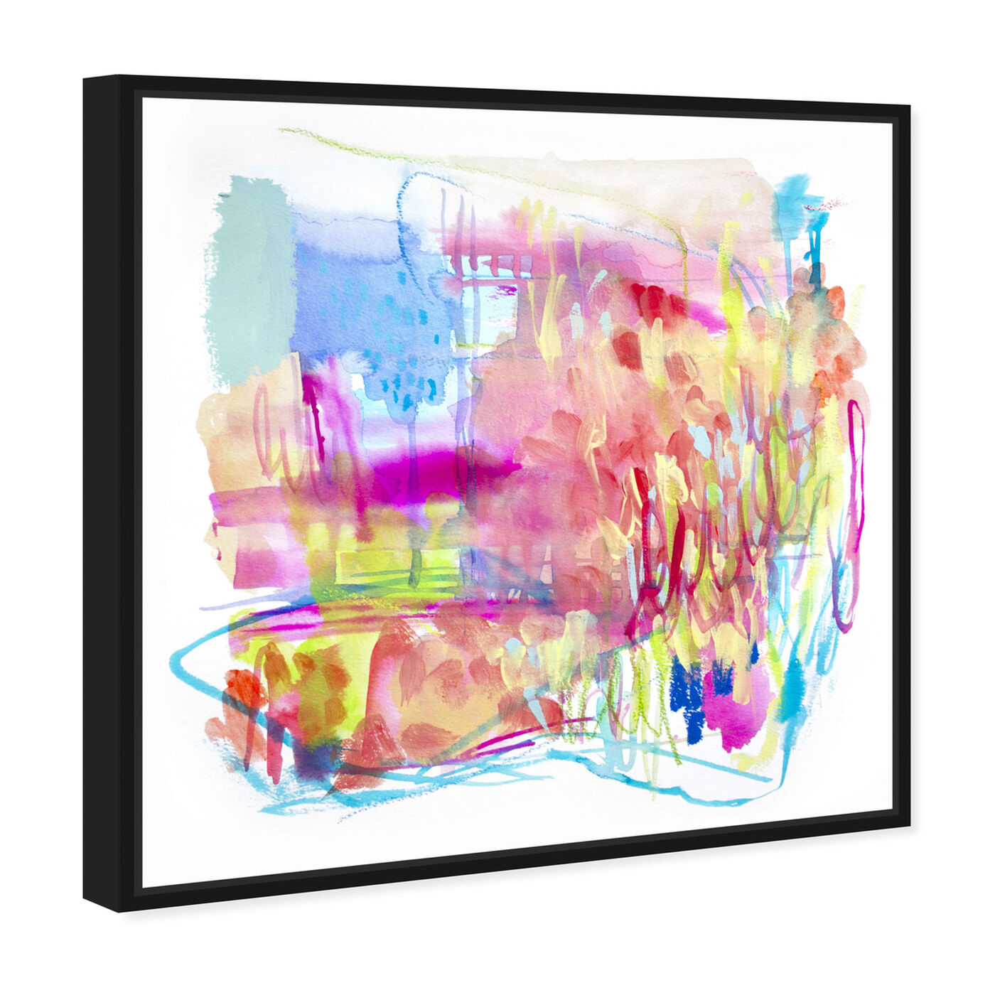 Angled view of Fireworks at the Lake featuring abstract and watercolor art.