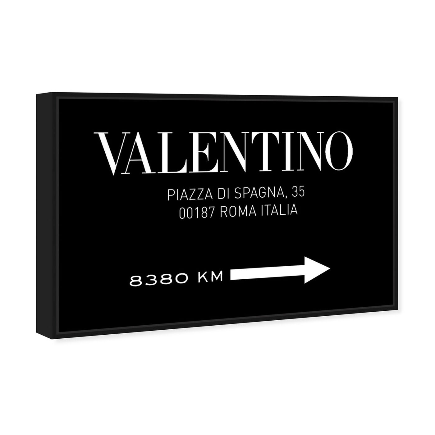 Angled view of Piazza Road Sign Minimalist BW featuring fashion and glam and road signs art.