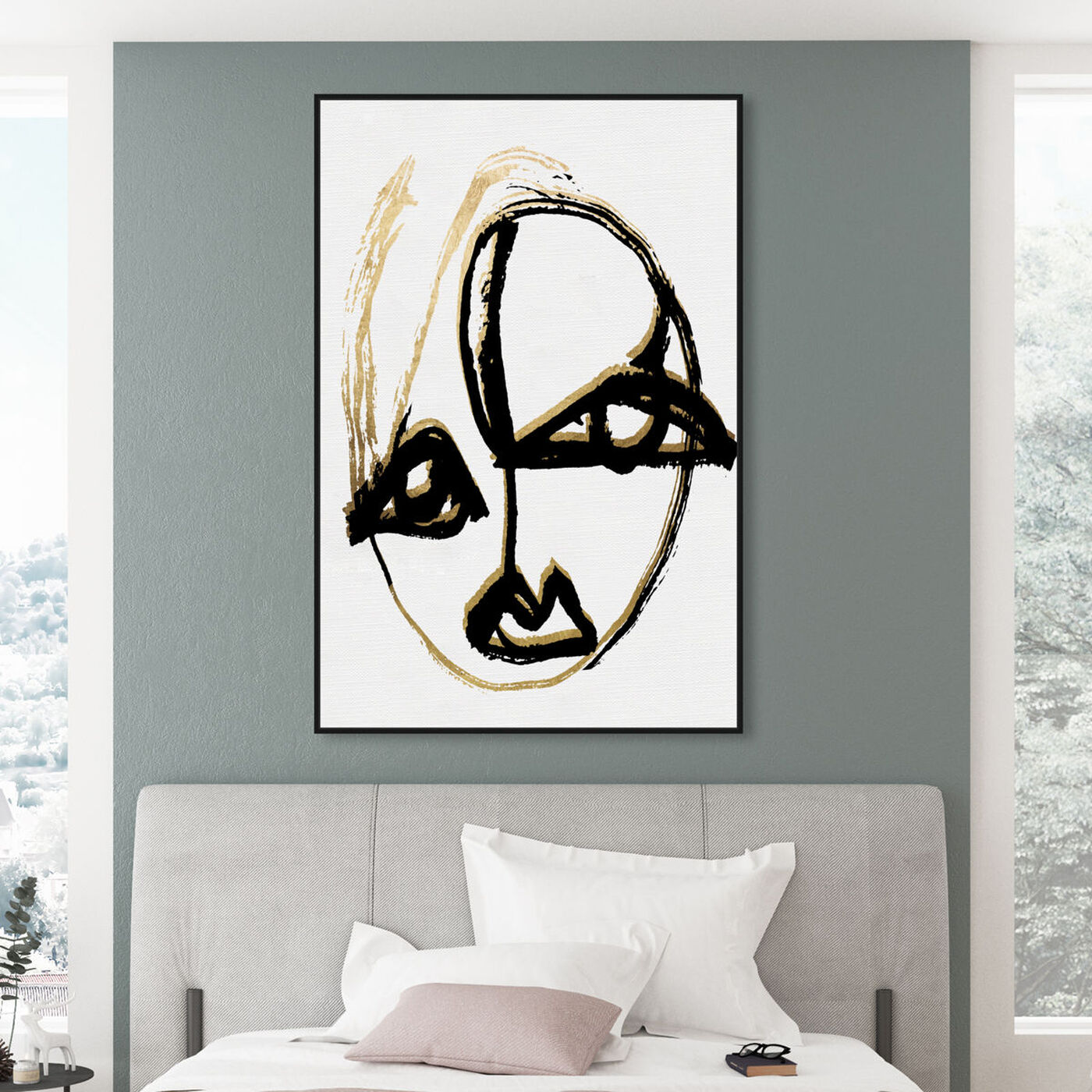 Hanging view of abstract Portrait II featuring abstract and paint art.