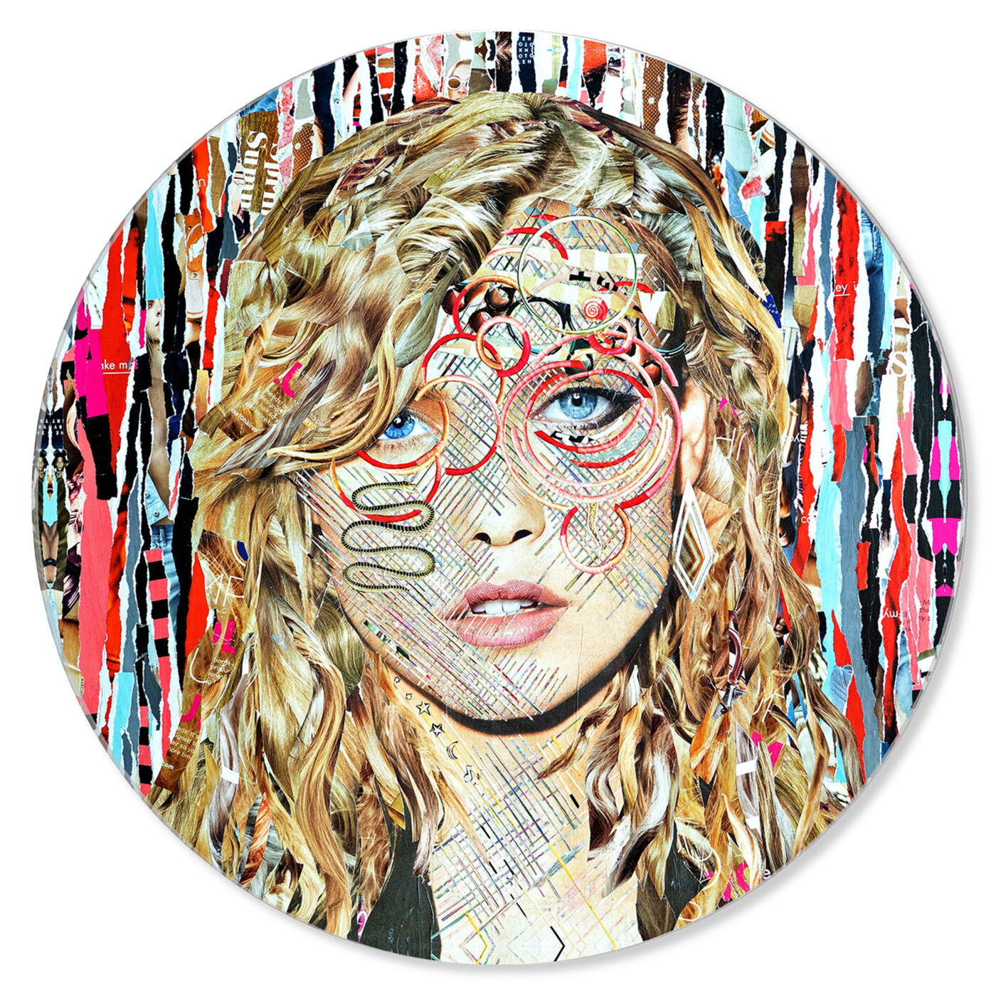Front view of Katy Hirschfeld - Blondie ROUND featuring fashion and glam and portraits art.