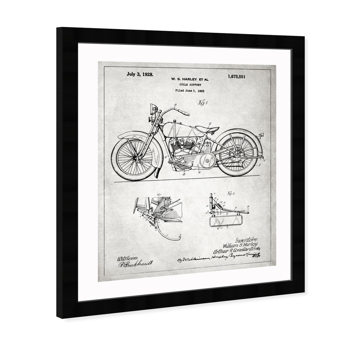 Angled view of Harley, 1928 - Gray featuring transportation and motorcycles art.