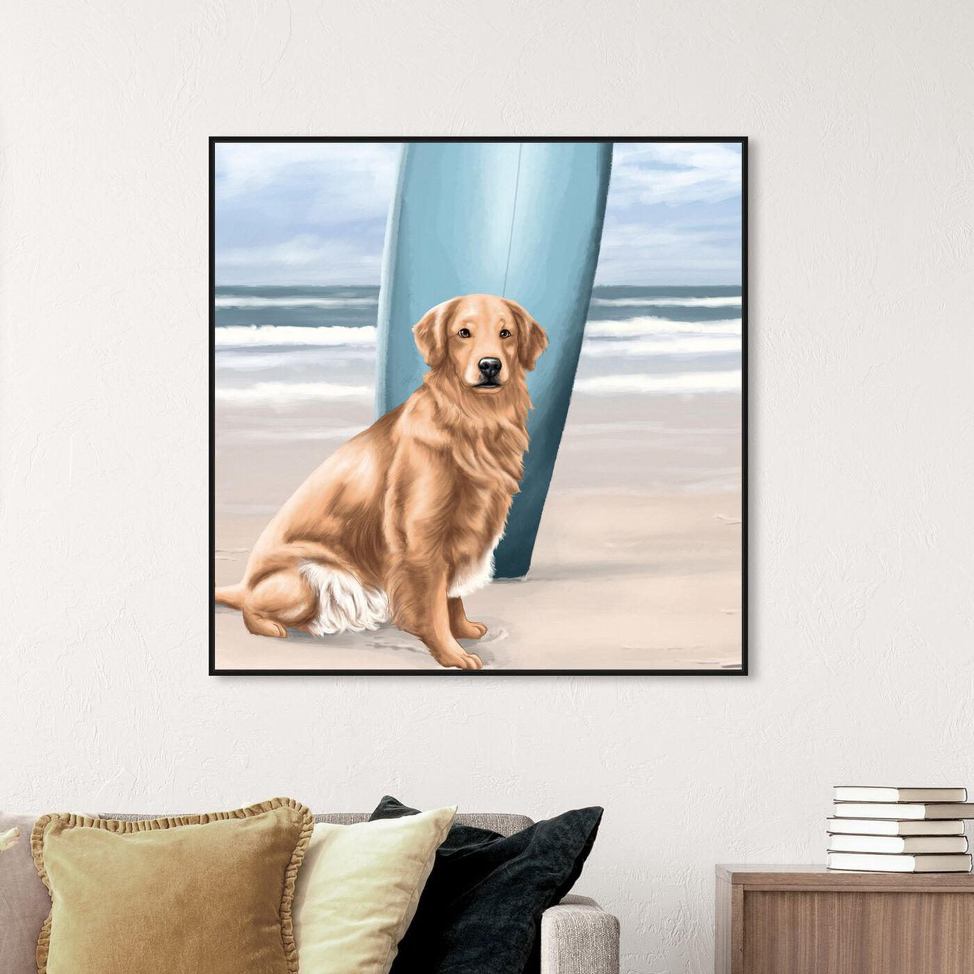 Hanging view of Surfer Golden Retriever featuring animals and dogs and puppies art.