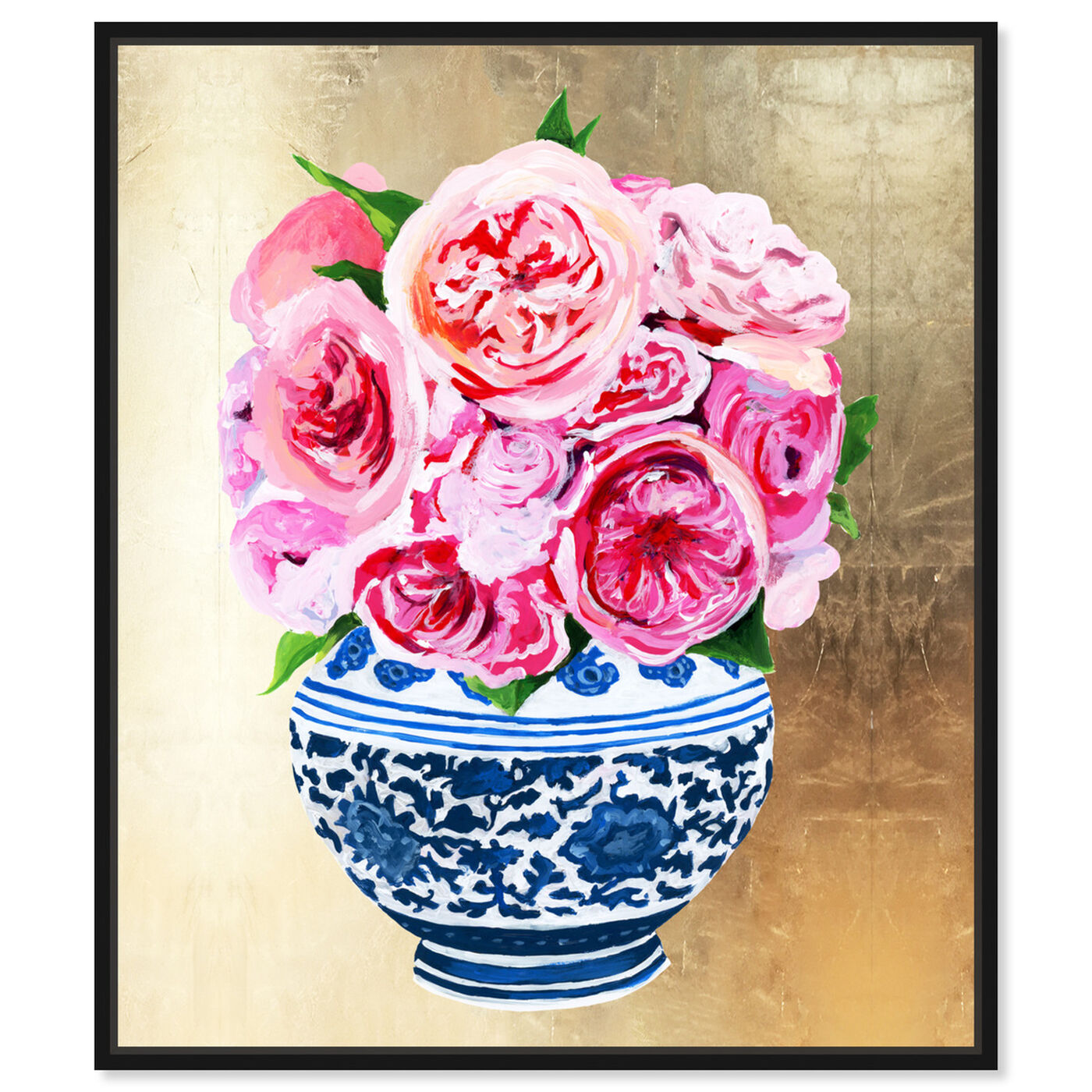 Front view of Peonie Vase II featuring world and countries and asian cultures art.