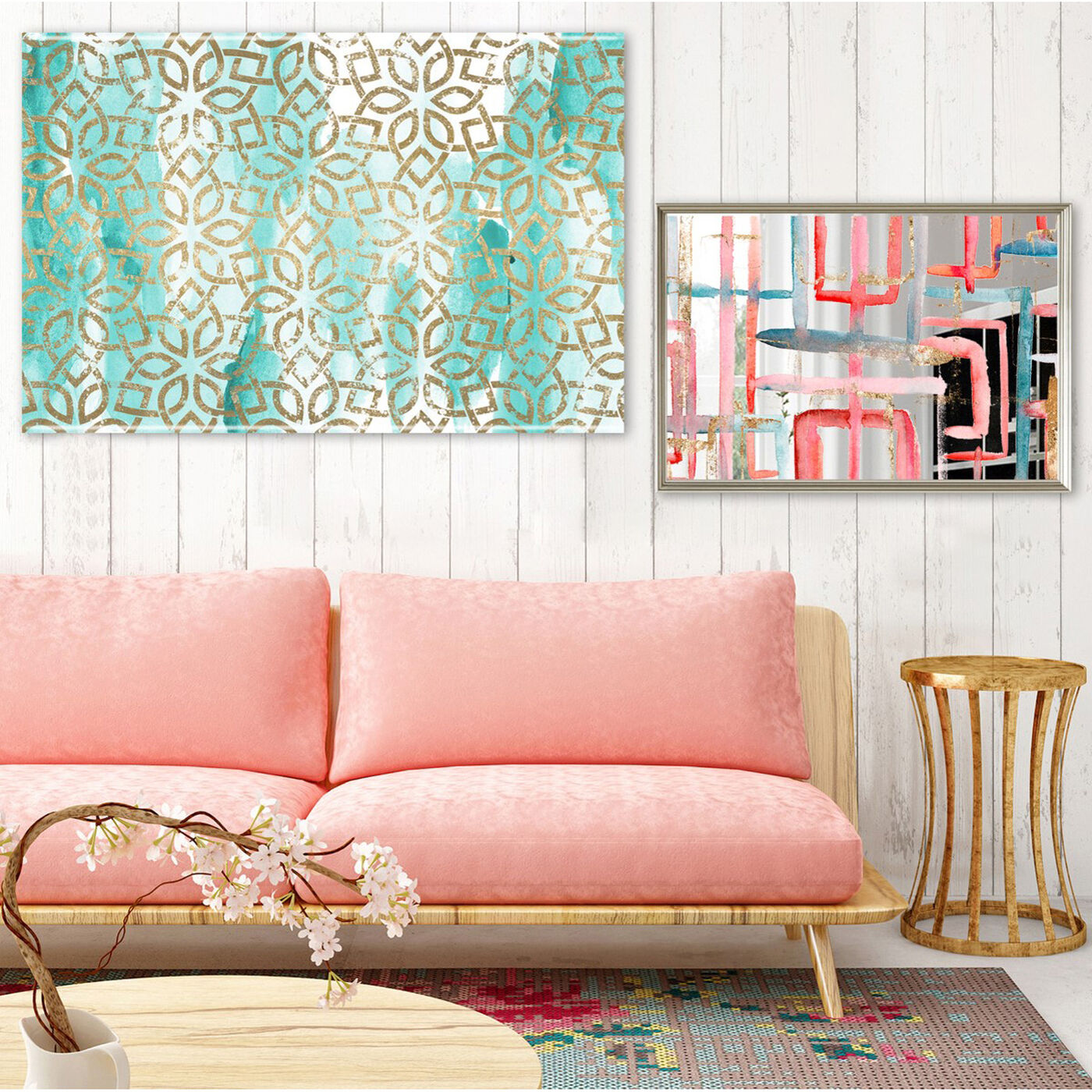 Hanging view of Golden Window featuring abstract and paint art.