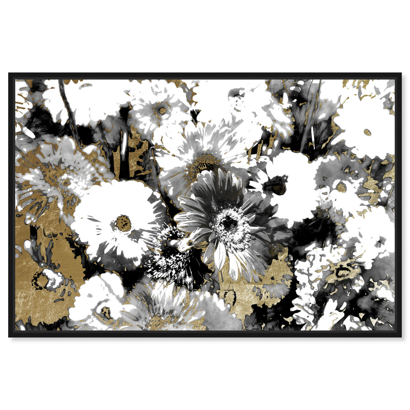 Front view of Golden Floral Adore featuring floral and botanical and gardens art.