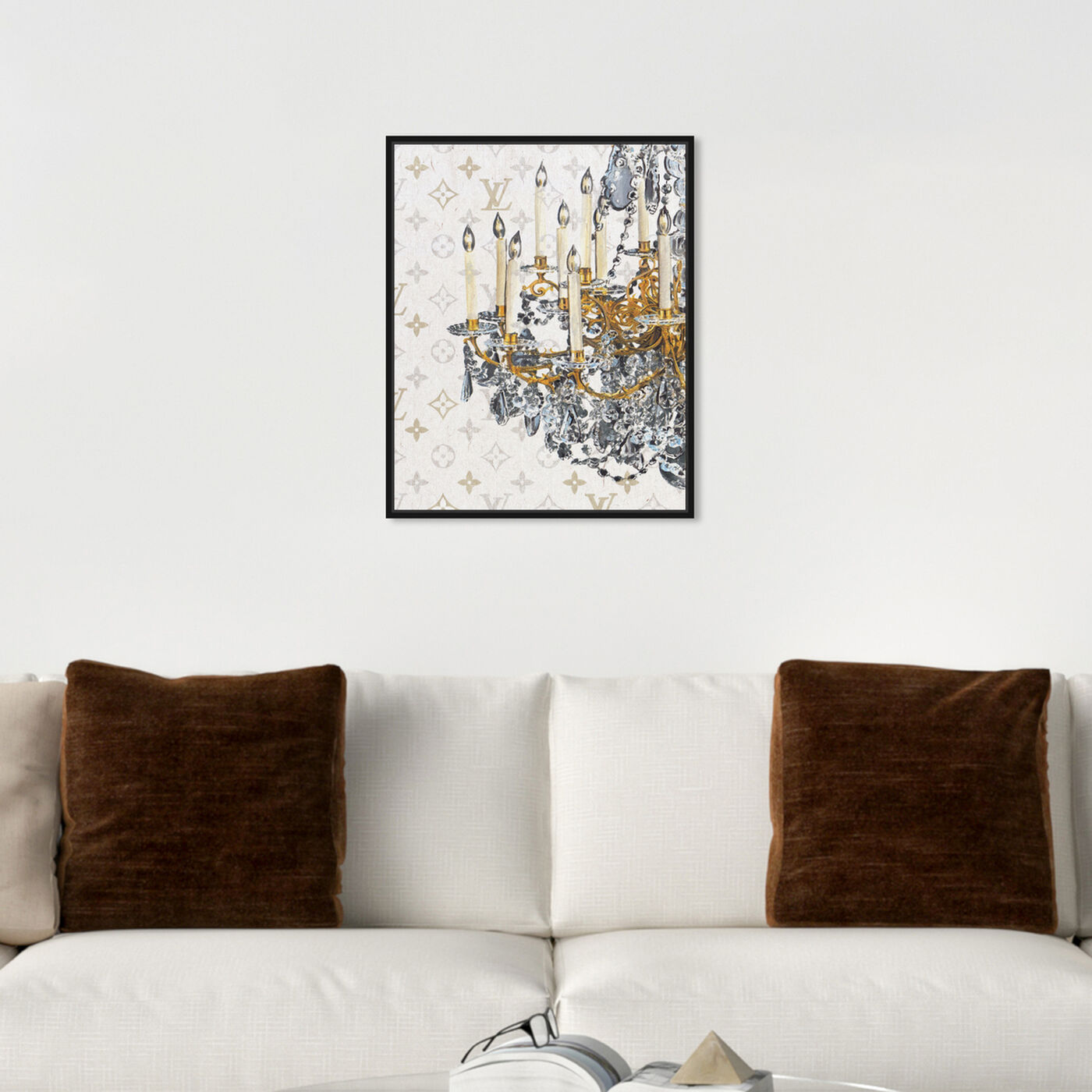 Hanging view of Fancy Light I featuring fashion and glam and chandeliers art.