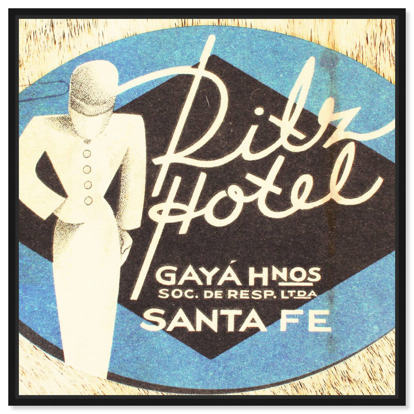 Front view of Ritz Hotel featuring advertising and posters art.