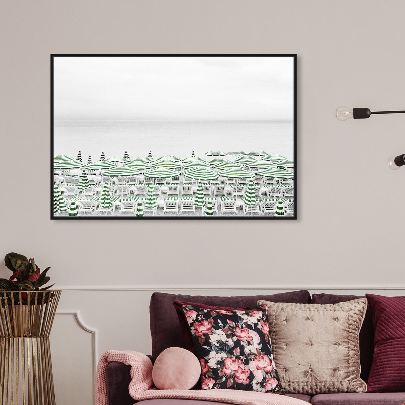 Hanging view of Parasol in Jade featuring nautical and coastal and coastal art.