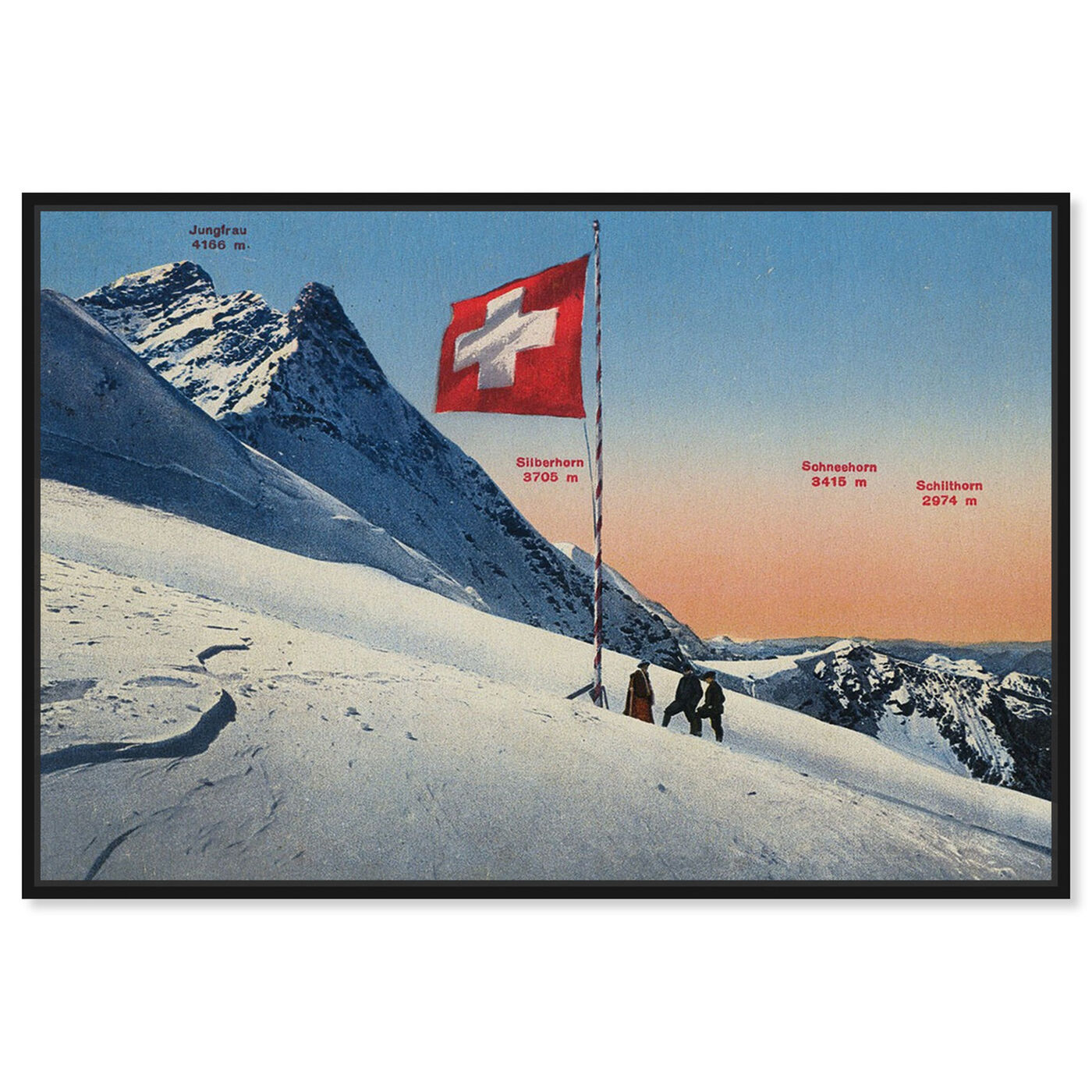 Front view of Jungfrau featuring sports and teams and skiing art.