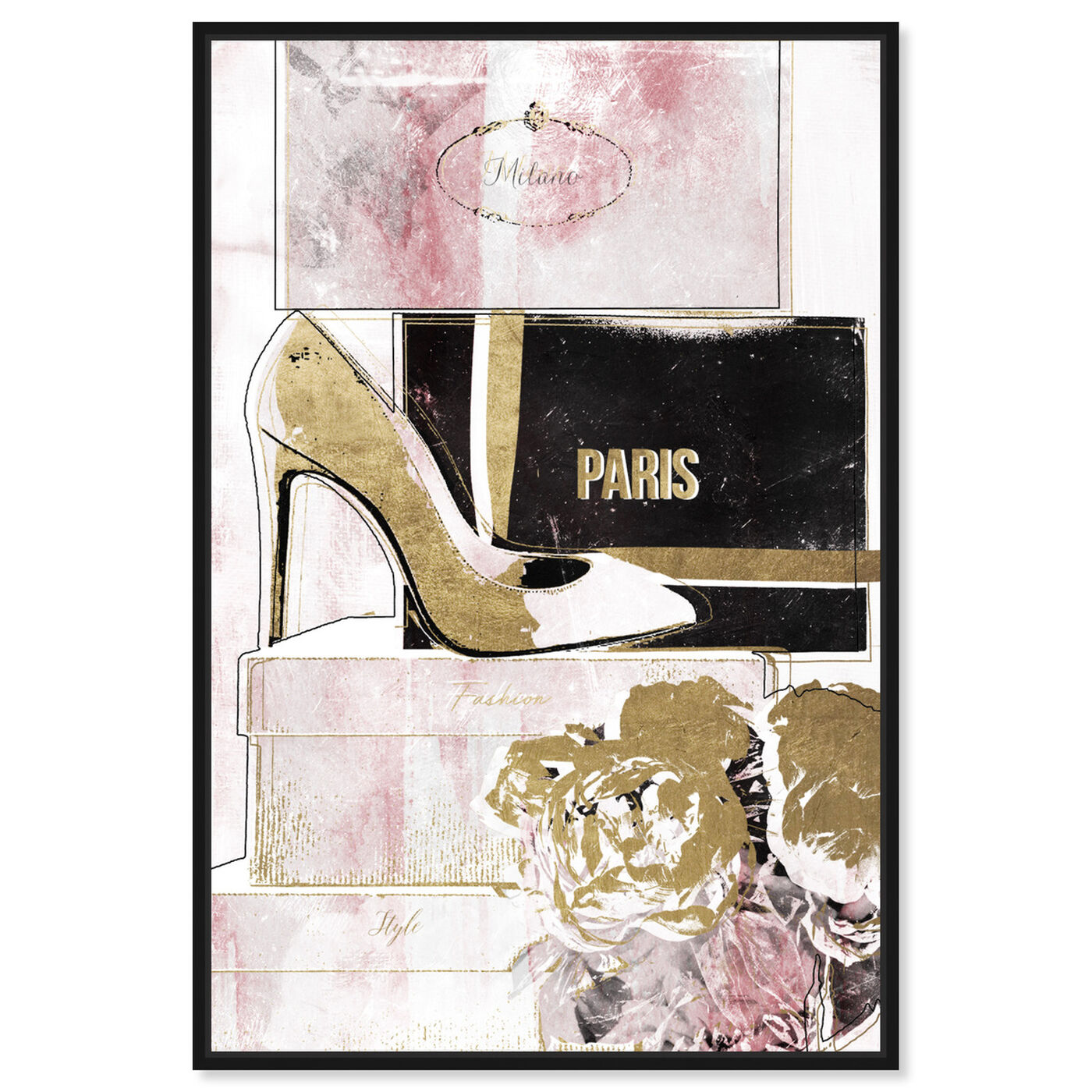 Front view of Stacked Shoes Rose Love featuring fashion and glam and shoes art.