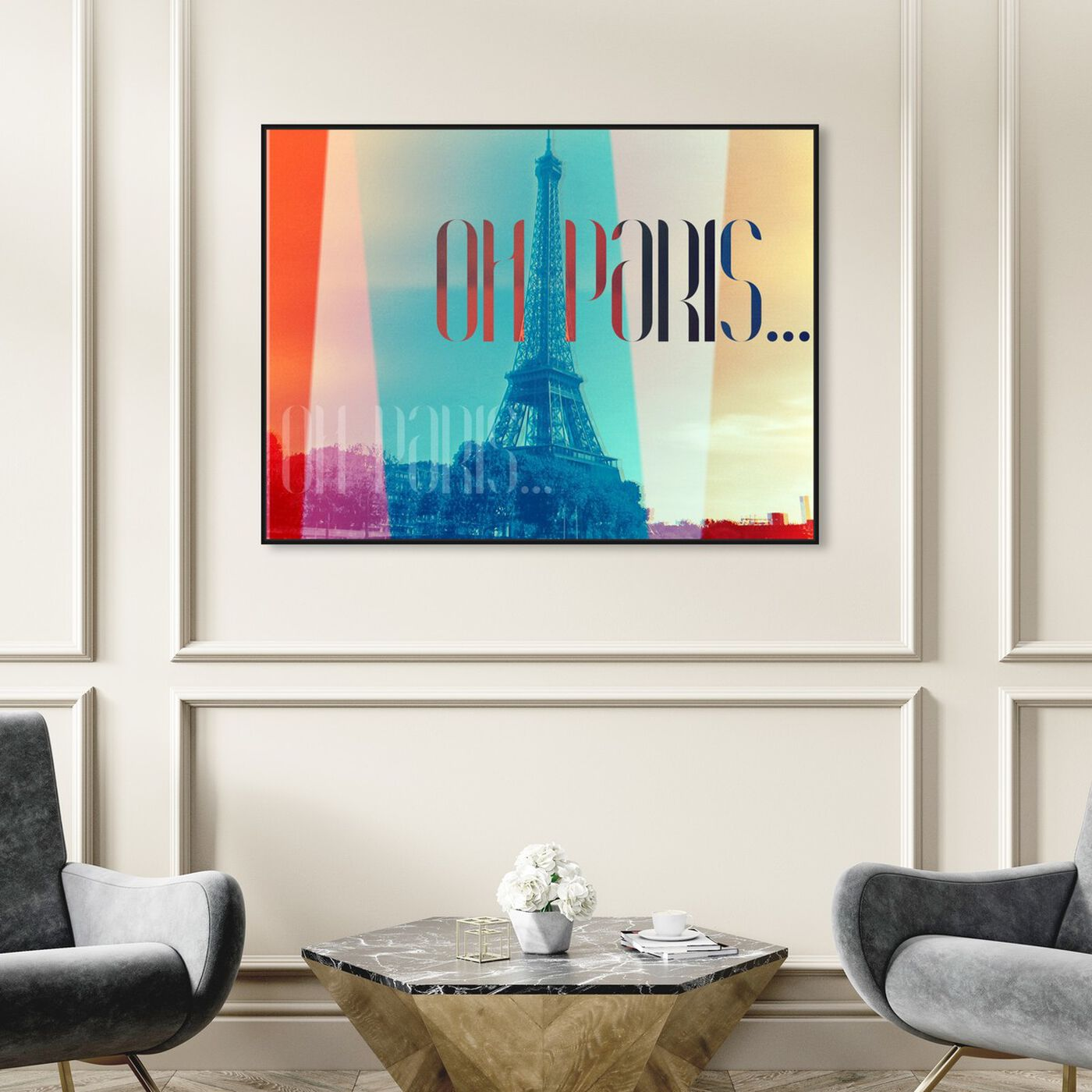 Hanging view of Oh Paris featuring world and countries and european countries art.