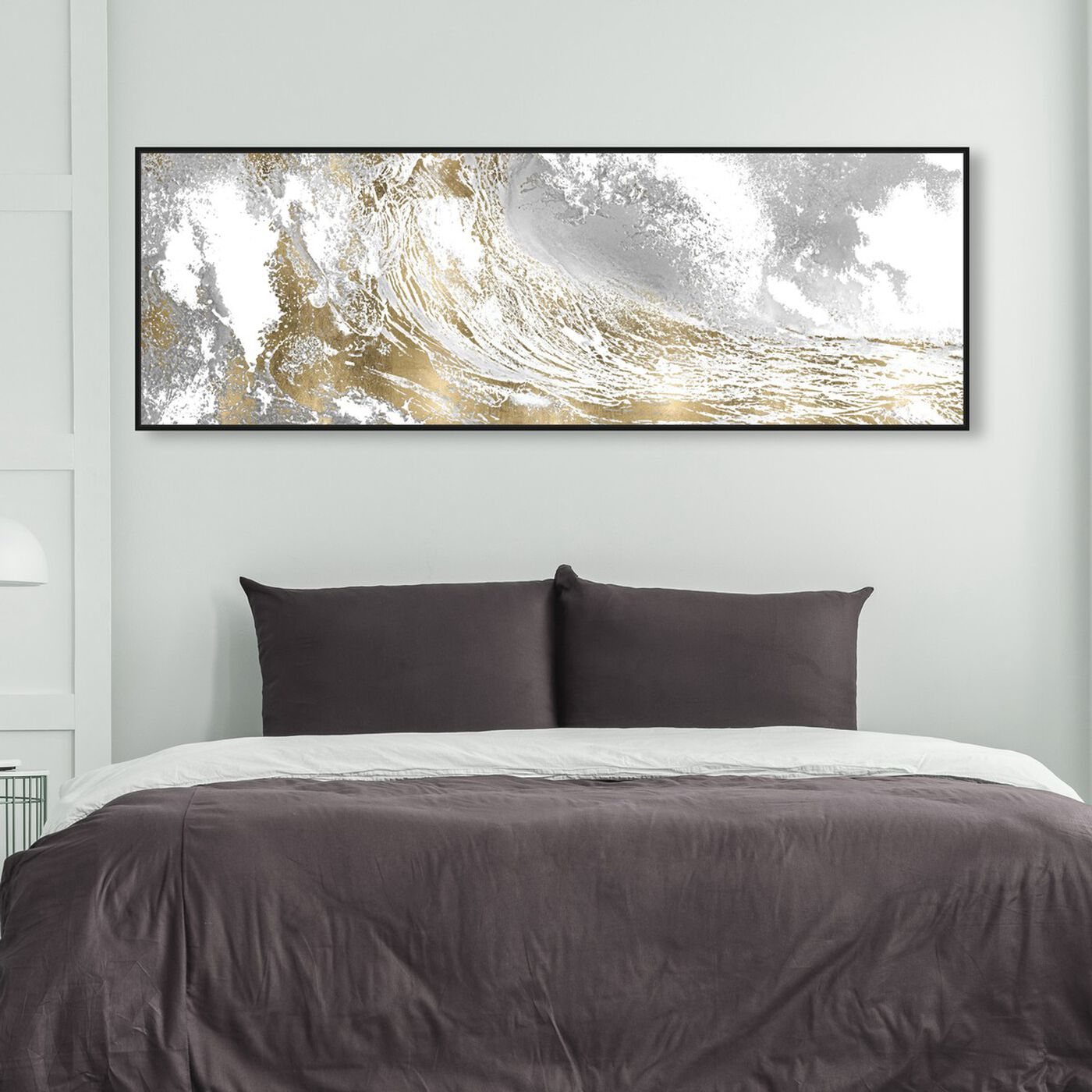Hanging view of Wave in a Moment Gold featuring nautical and coastal and coastal landscapes art.