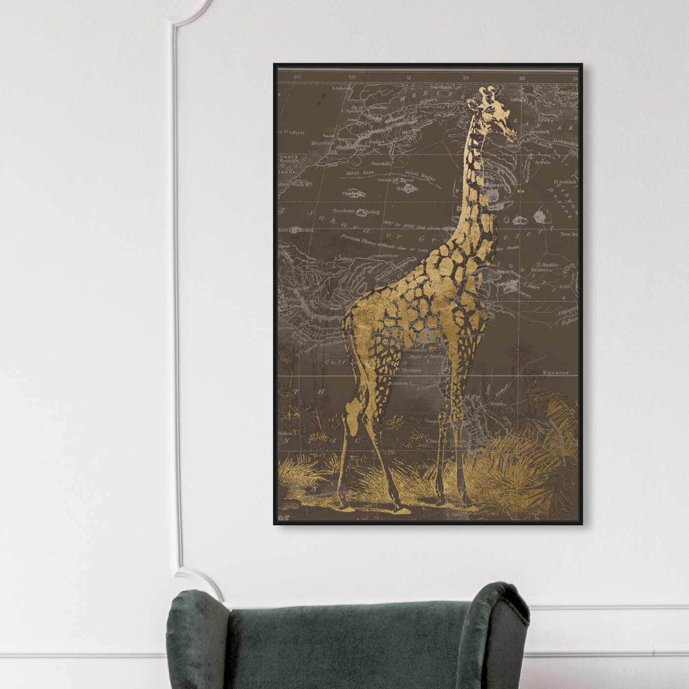 Hanging view of Giraffe Sahara featuring animals and zoo and wild animals art.