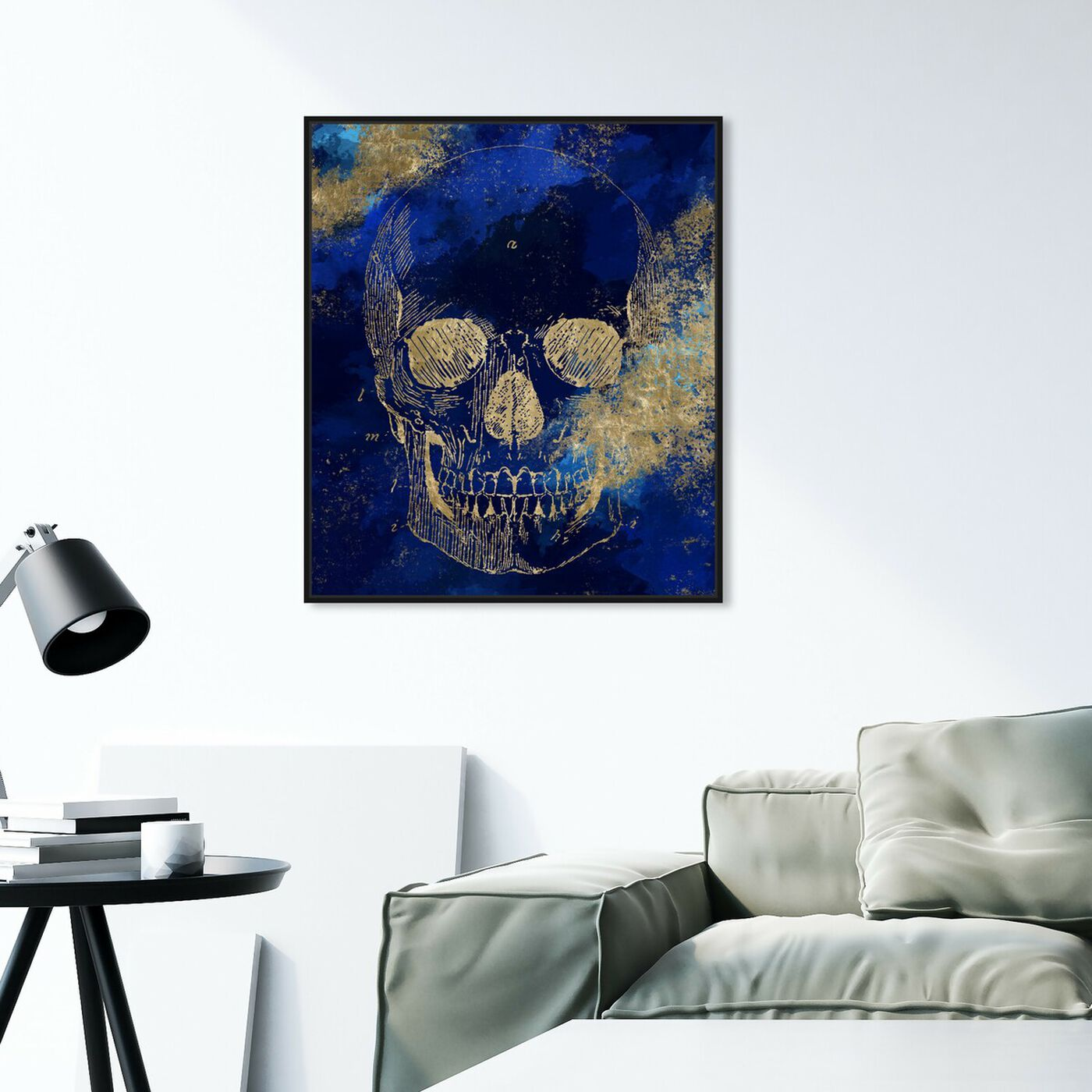 Hanging view of Gold Skull I featuring symbols and objects and skull art.
