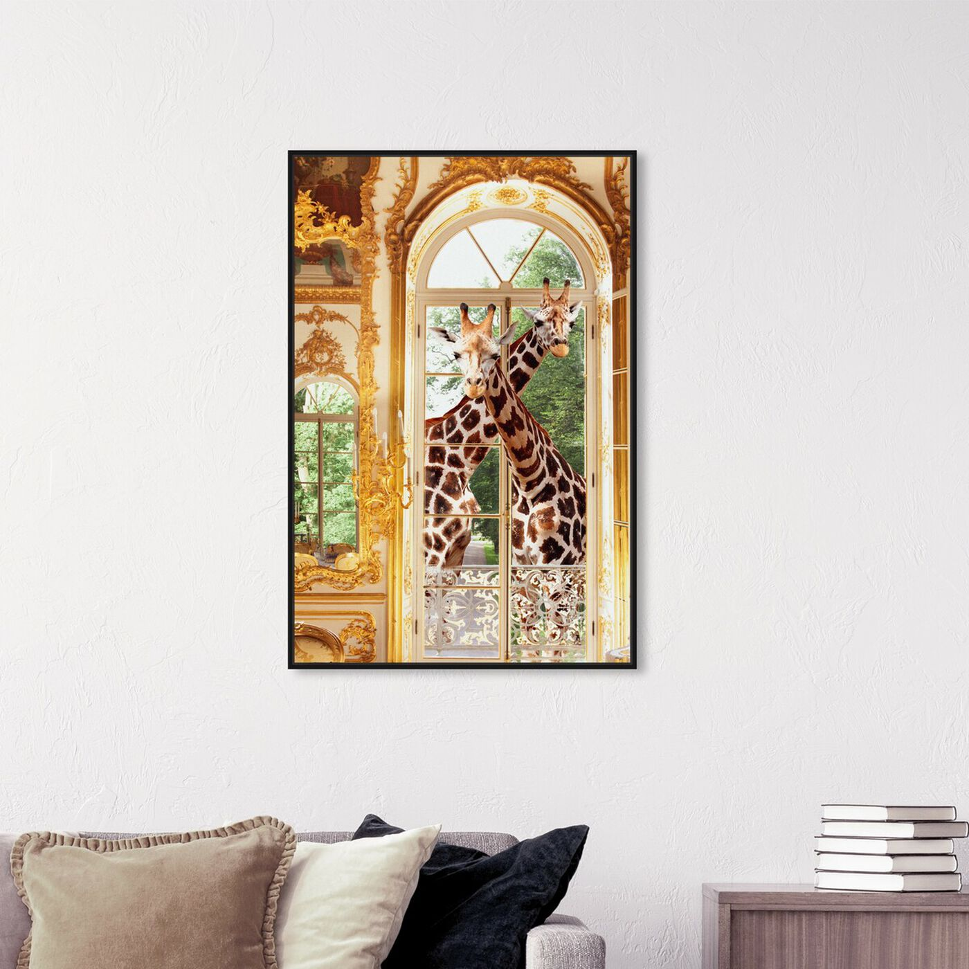 Hanging view of Giraffes Joined For Breakfast featuring animals and zoo and wild animals art.