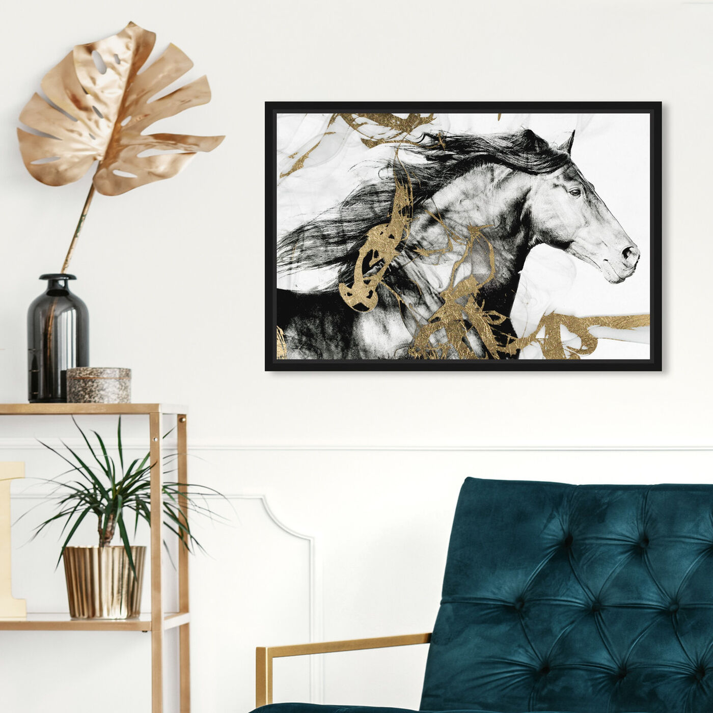 Hanging view of Gold and Black Beauty featuring animals and farm animals art.