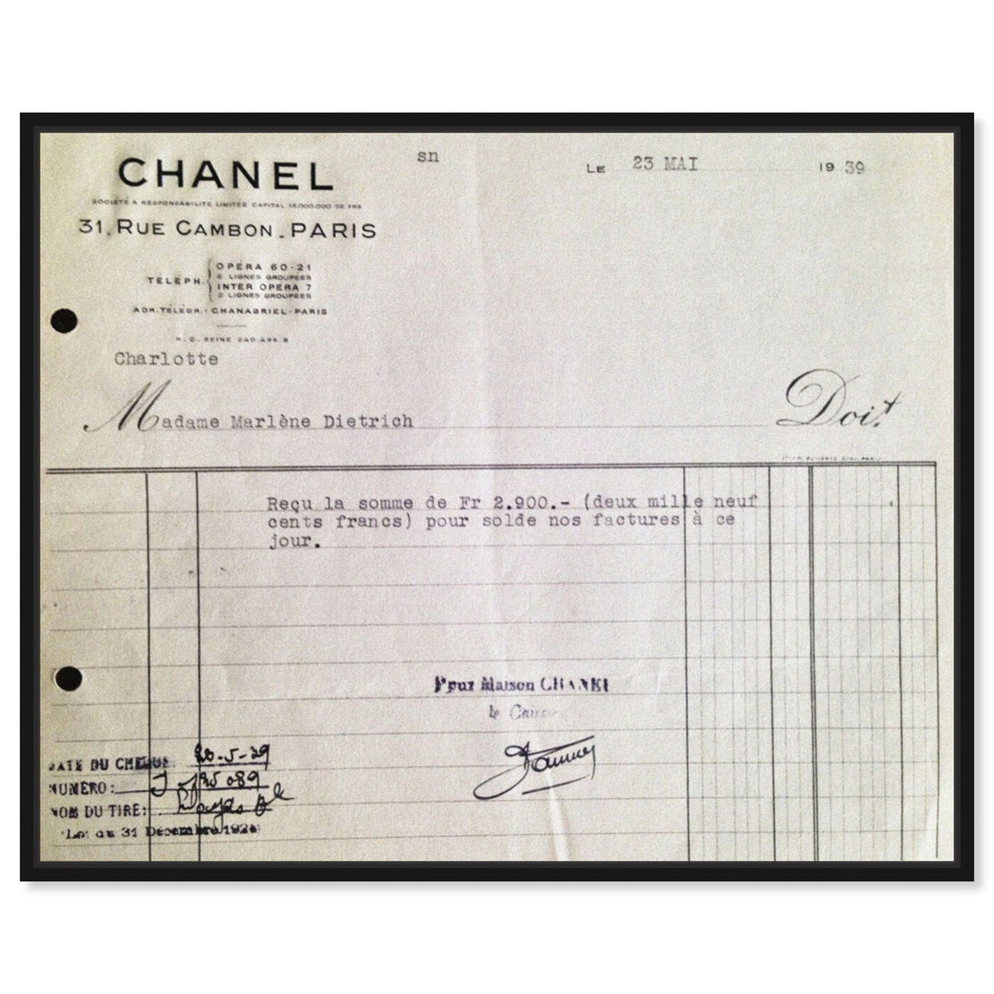 Front view of Marlene Dietrich Receipt featuring fashion and glam and lifestyle art.
