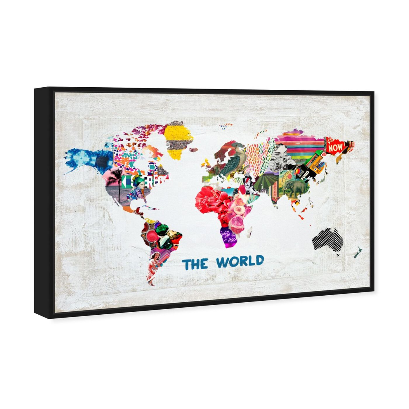 Angled view of Hipster Mapa Mundi featuring maps and flags and world maps art.