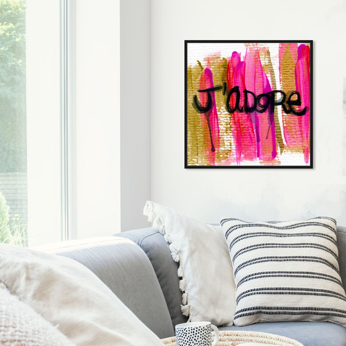 Hanging view of J'Adore  featuring typography and quotes and love quotes and sayings art.