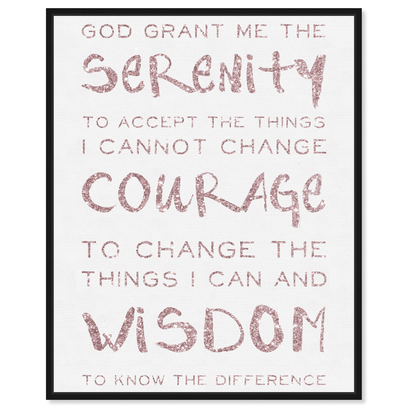Front view of Serenity Prayer Blush and White featuring typography and quotes and inspirational quotes and sayings art.