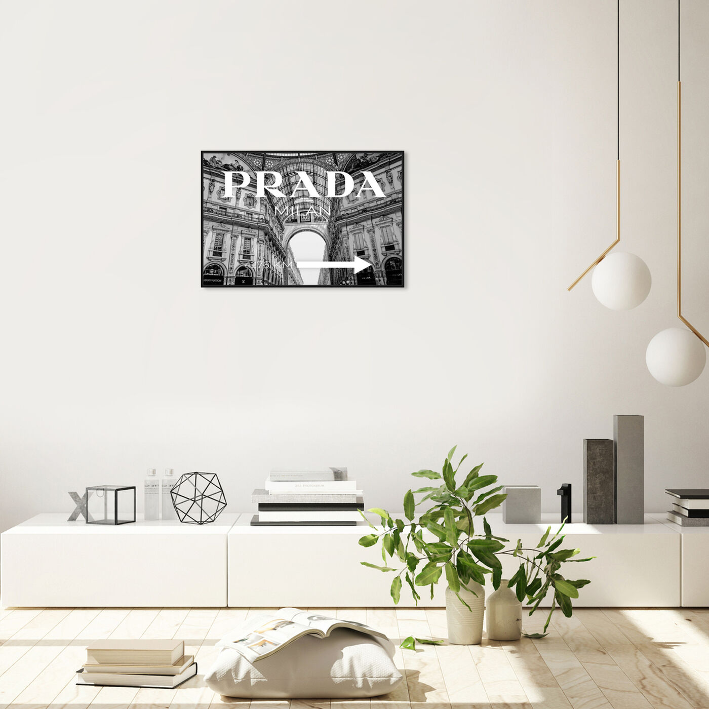 Hanging view of Milan Galleria Roadsign Noir featuring fashion and glam and road signs art.