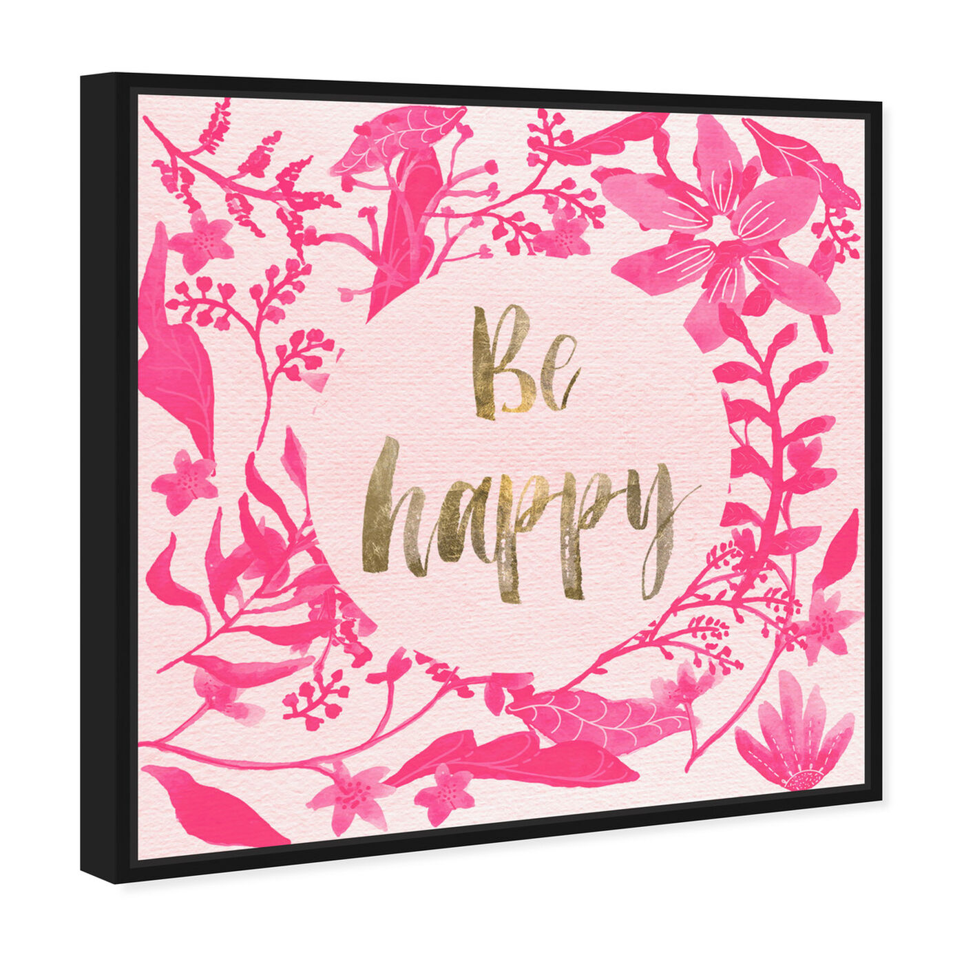 Angled view of Pink Happy featuring typography and quotes and inspirational quotes and sayings art.