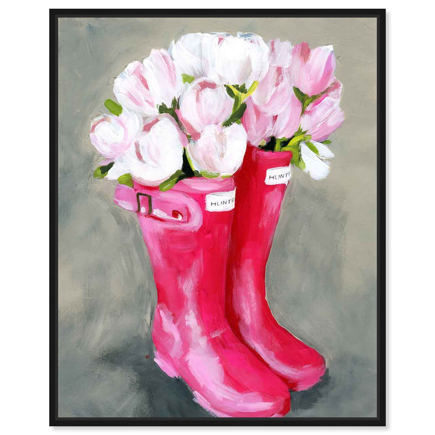 Front view of Tulips & Rainboots featuring floral and botanical and florals art.