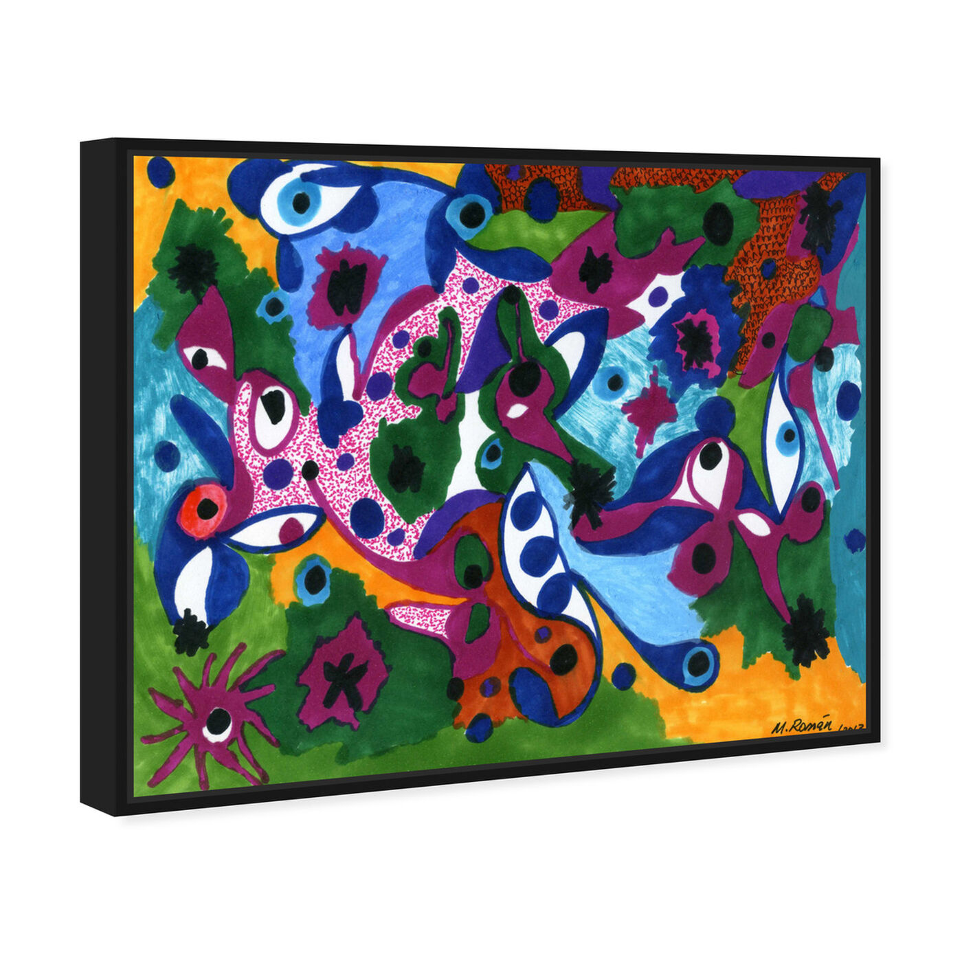 Angled view of Eyes All Around featuring abstract and shapes art.