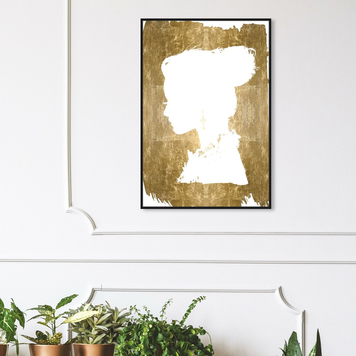 Hanging view of Beauté Gold Foil featuring fashion and glam and portraits art.