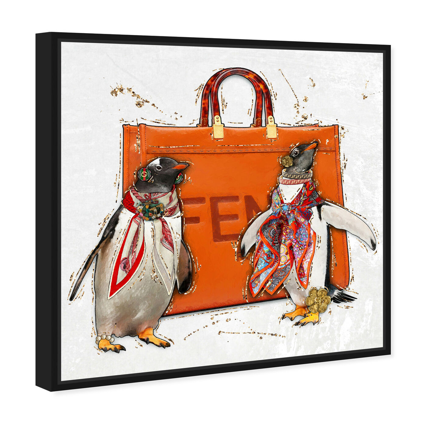 Angled view of No More Suits featuring animals and birds art.