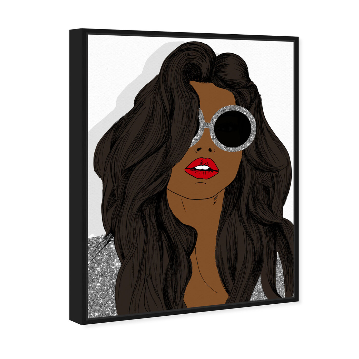 Angled view of Brunette Sunglasses featuring fashion and glam and accessories art.