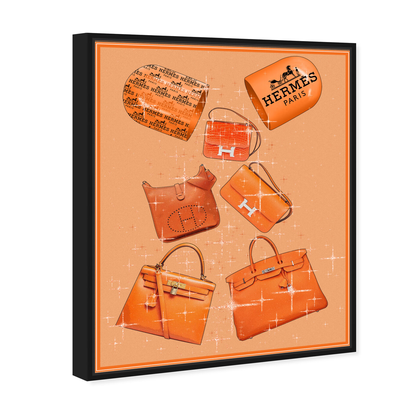 Angled view of Handbags Orange Boost featuring fashion and glam and handbags art.