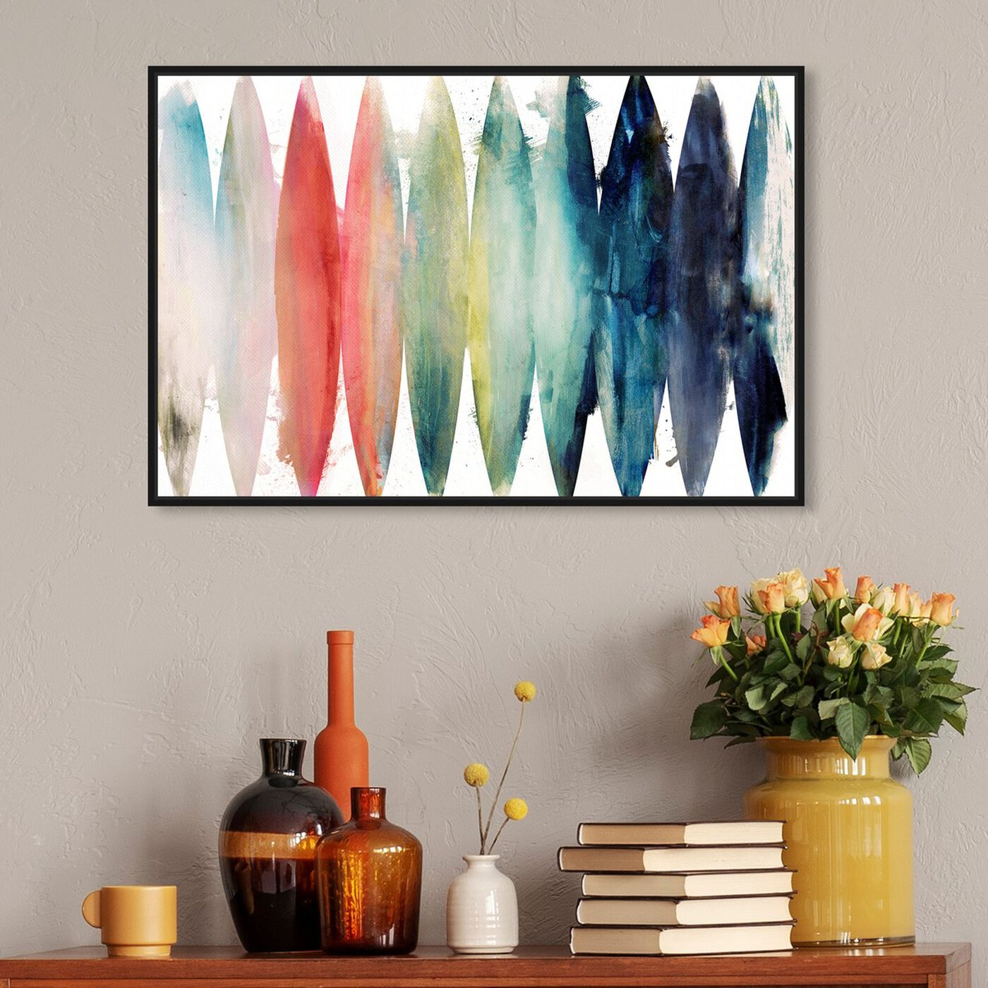 Hanging view of Paradise Found featuring abstract and watercolor art.