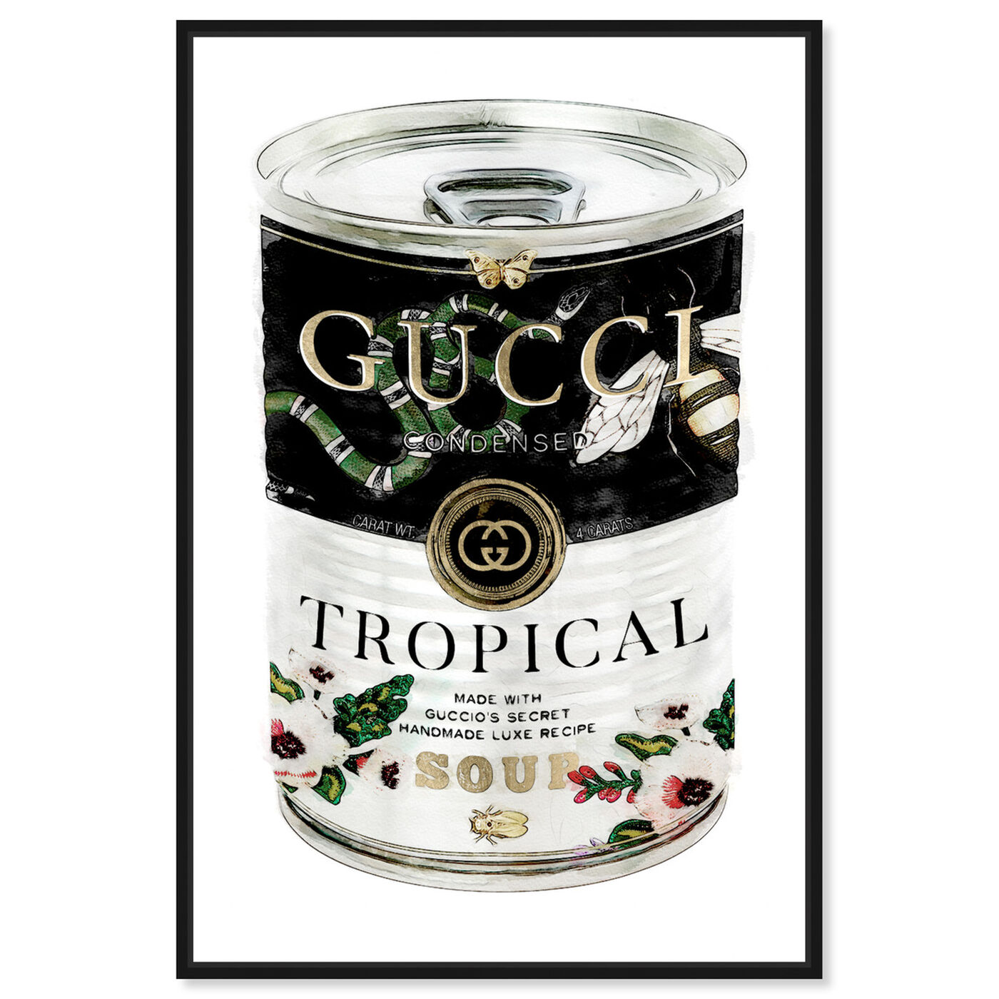 Front view of Italian Luxe Soup Emerald featuring fashion and glam and soup can art.