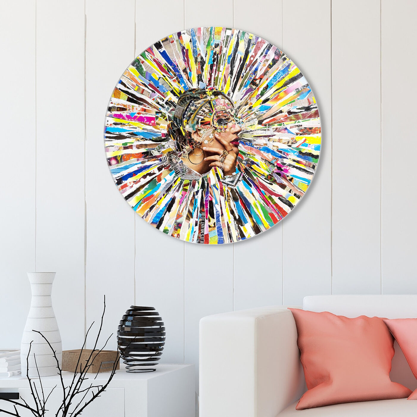 Hanging view of Katy Hirschfeld - Radiant Thoughts Round featuring fashion and glam and portraits art.