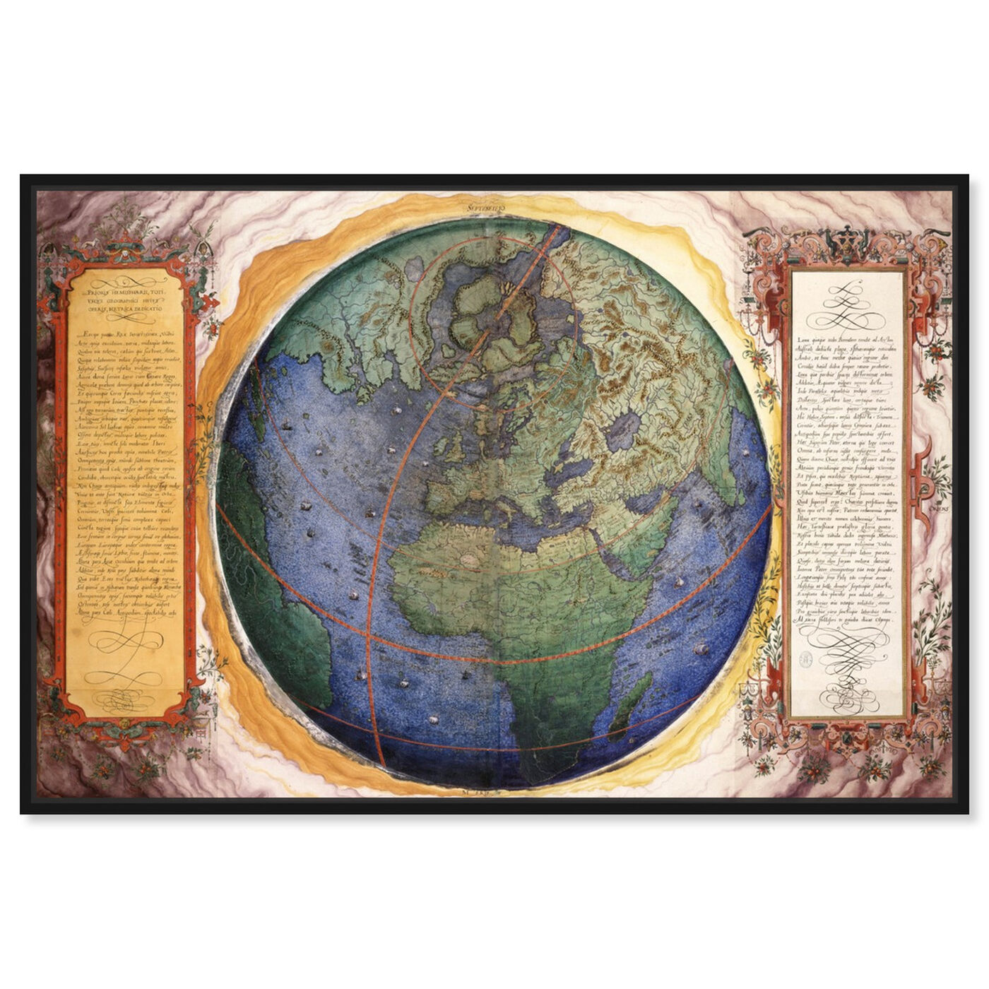 Front view of Prioris Hemisphaerii featuring maps and flags and world maps art.