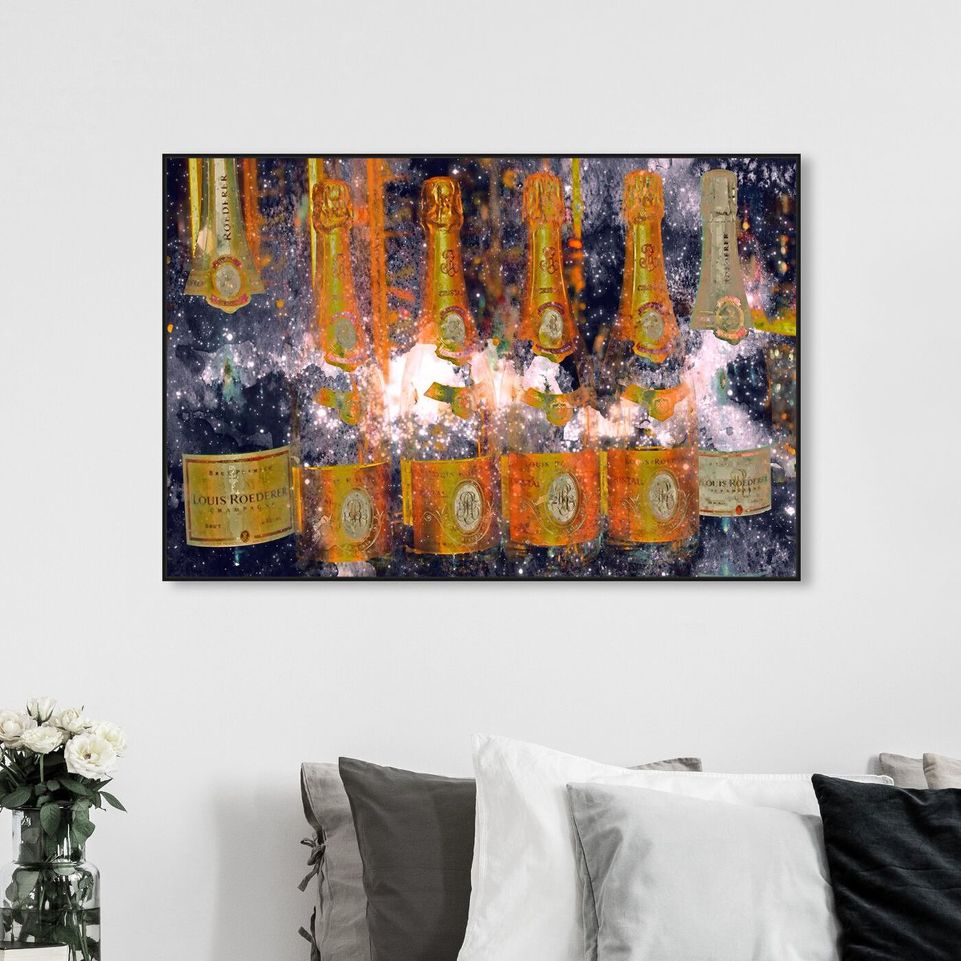 Hanging view of Galactic Cristal featuring drinks and spirits and champagne art.