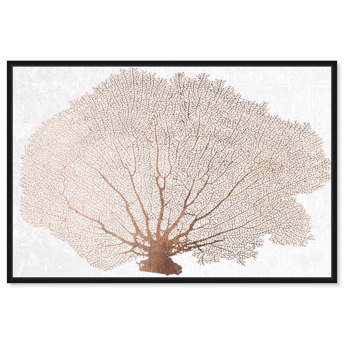 Front view of Copper Coral Fan featuring nautical and coastal and marine life art.