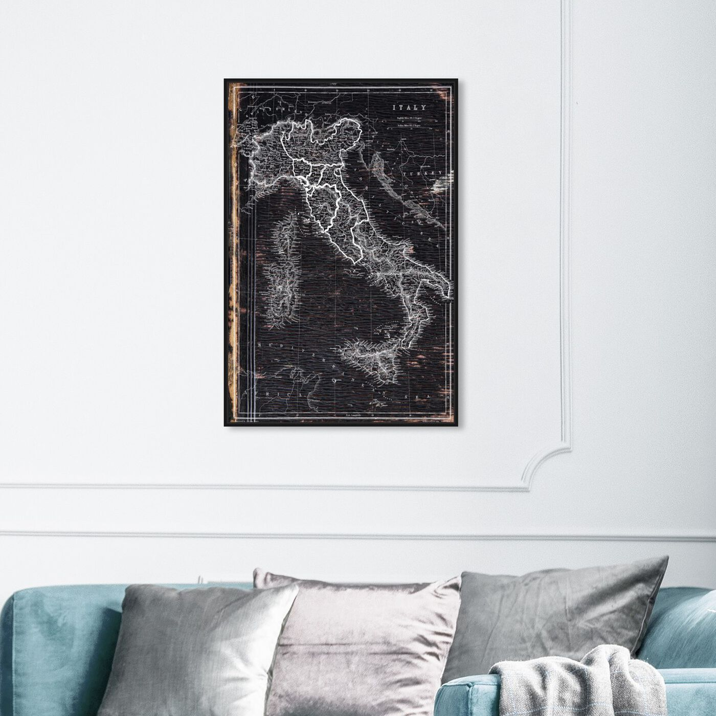 Hanging view of Map of Italy 1873 featuring maps and flags and european countries maps art.