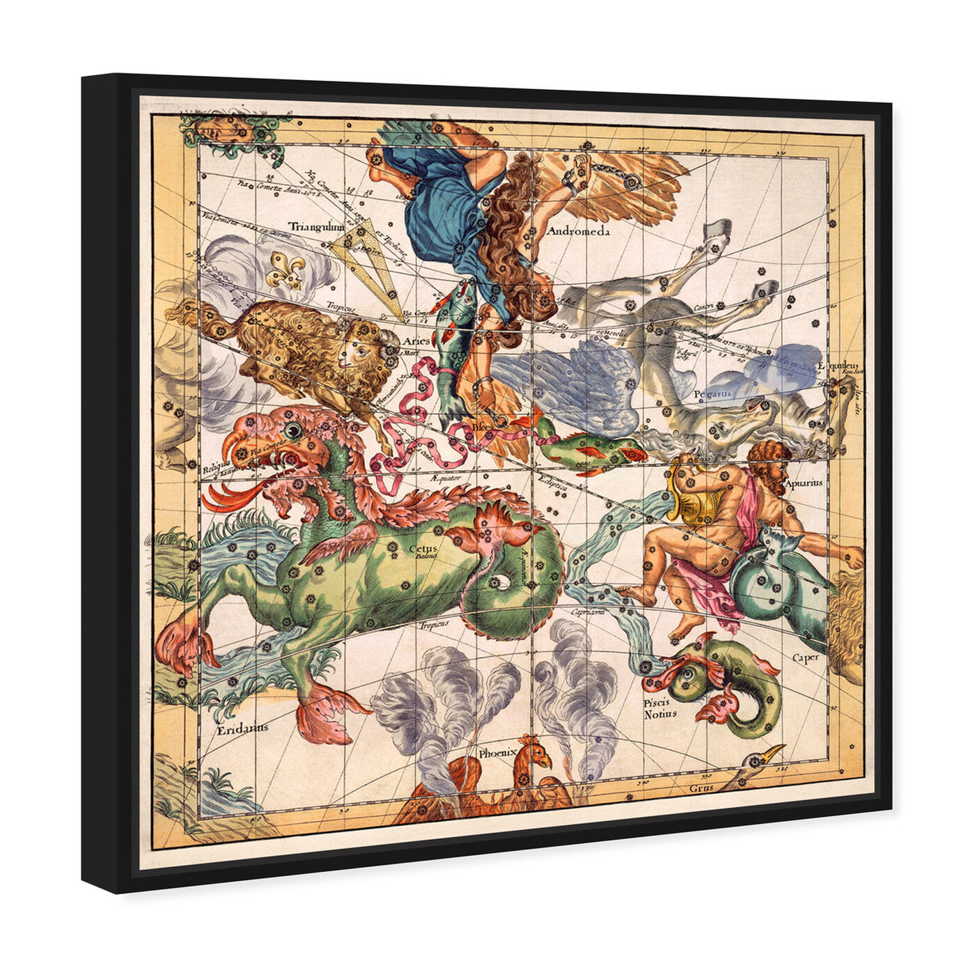Angled view of Aquarius Piscis and Aries featuring spiritual and religious and zodiac art.
