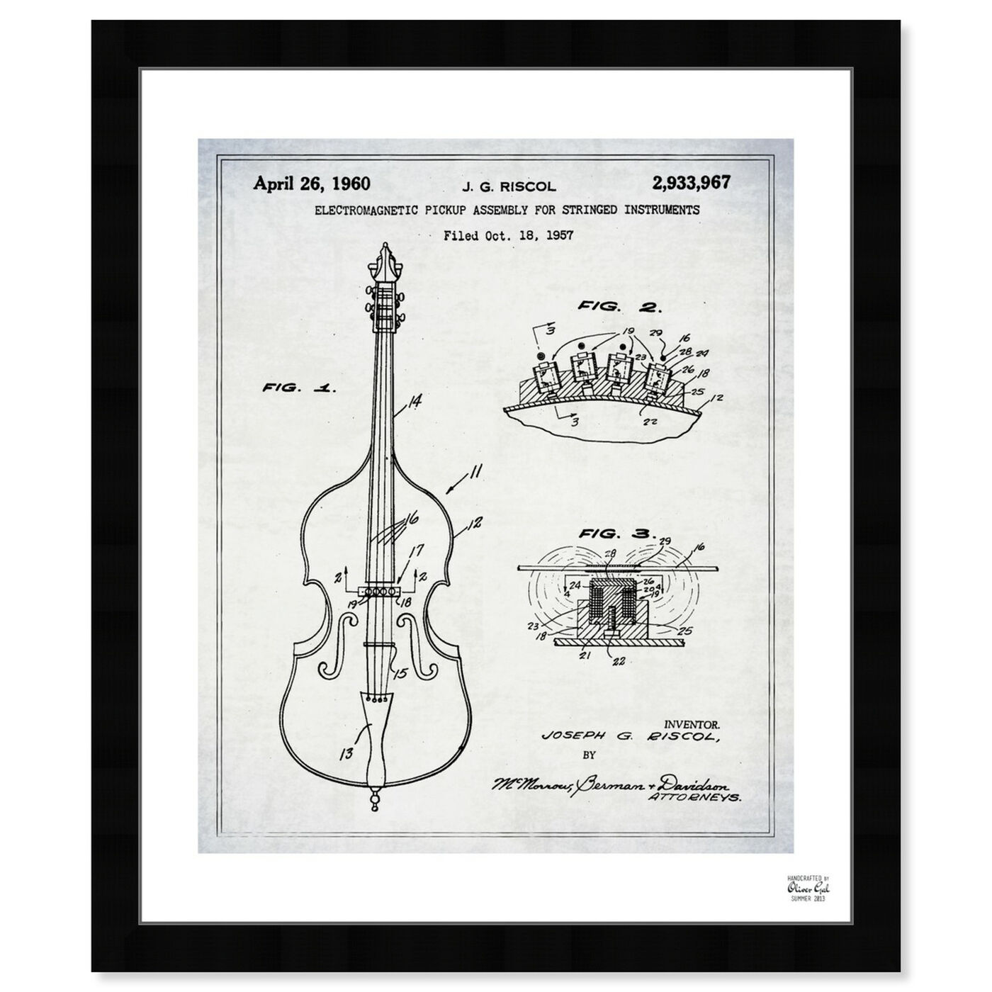 Front view of Electromagnetic Violin Pickup 1957 featuring music and dance and music instruments art.
