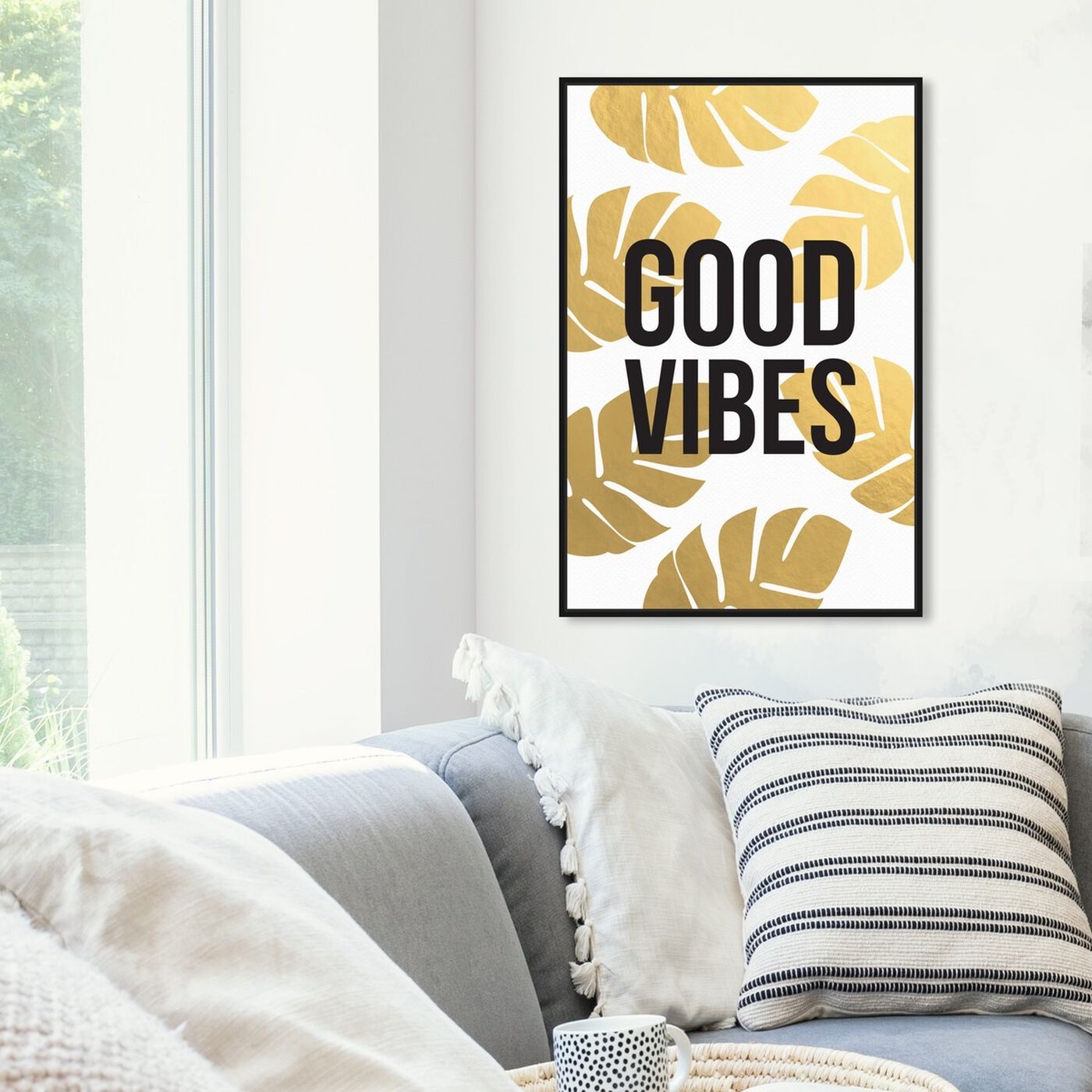 Hanging view of Good Vibes featuring typography and quotes and motivational quotes and sayings art.