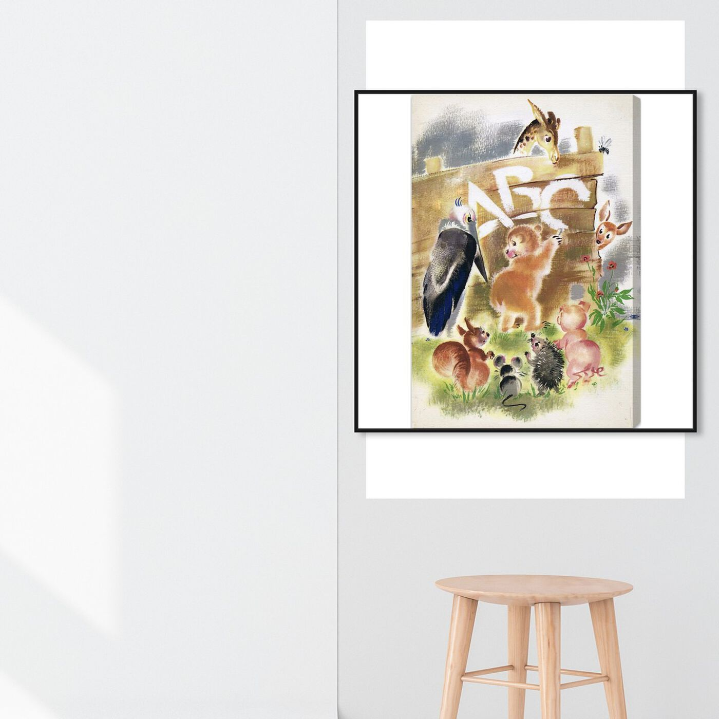 Hanging view of Animal ABC featuring animals and baby animals art.